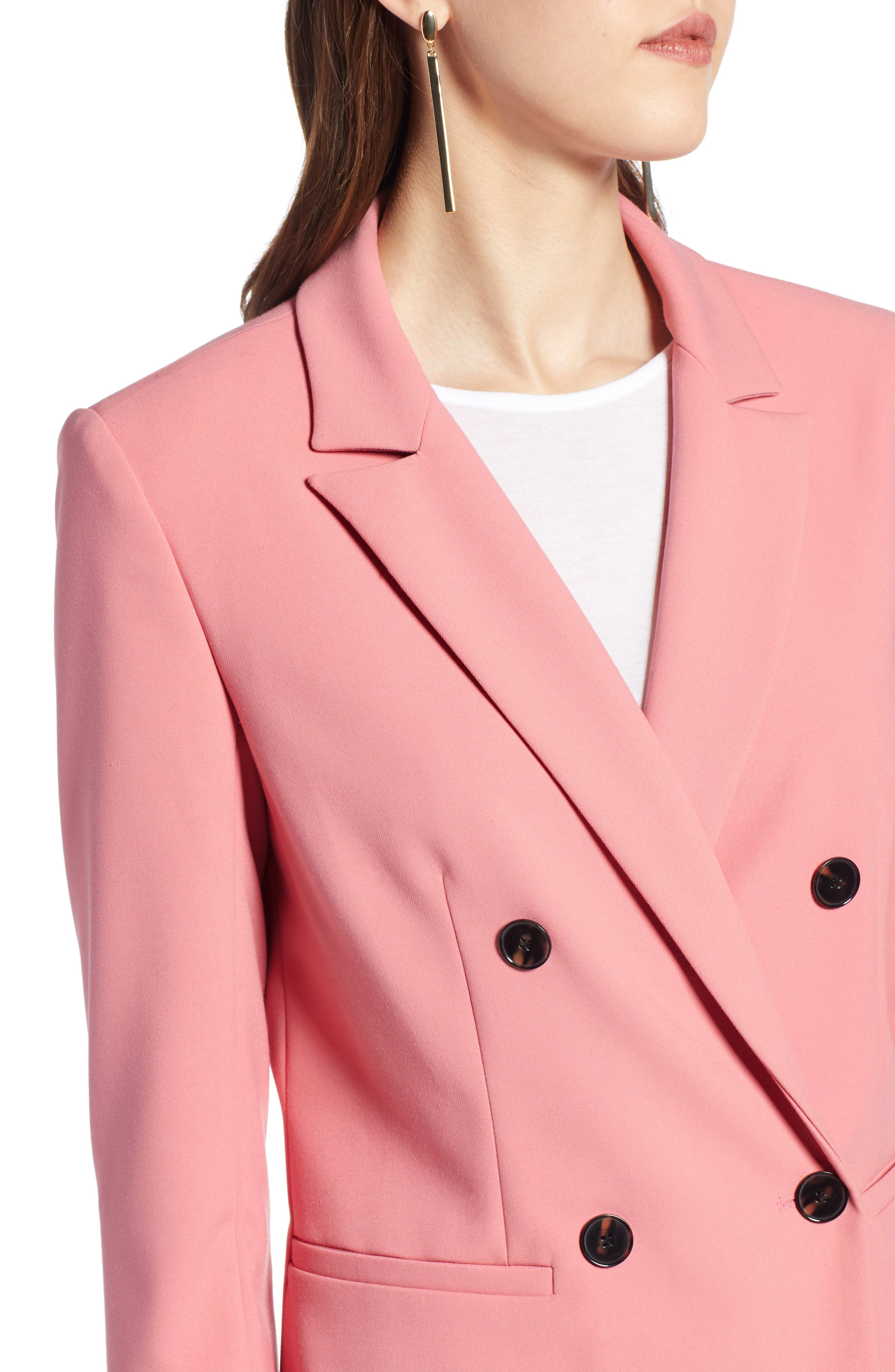 Double Breasted Blazer,                             Alternate thumbnail 4, color,                             CORAL MAUVE