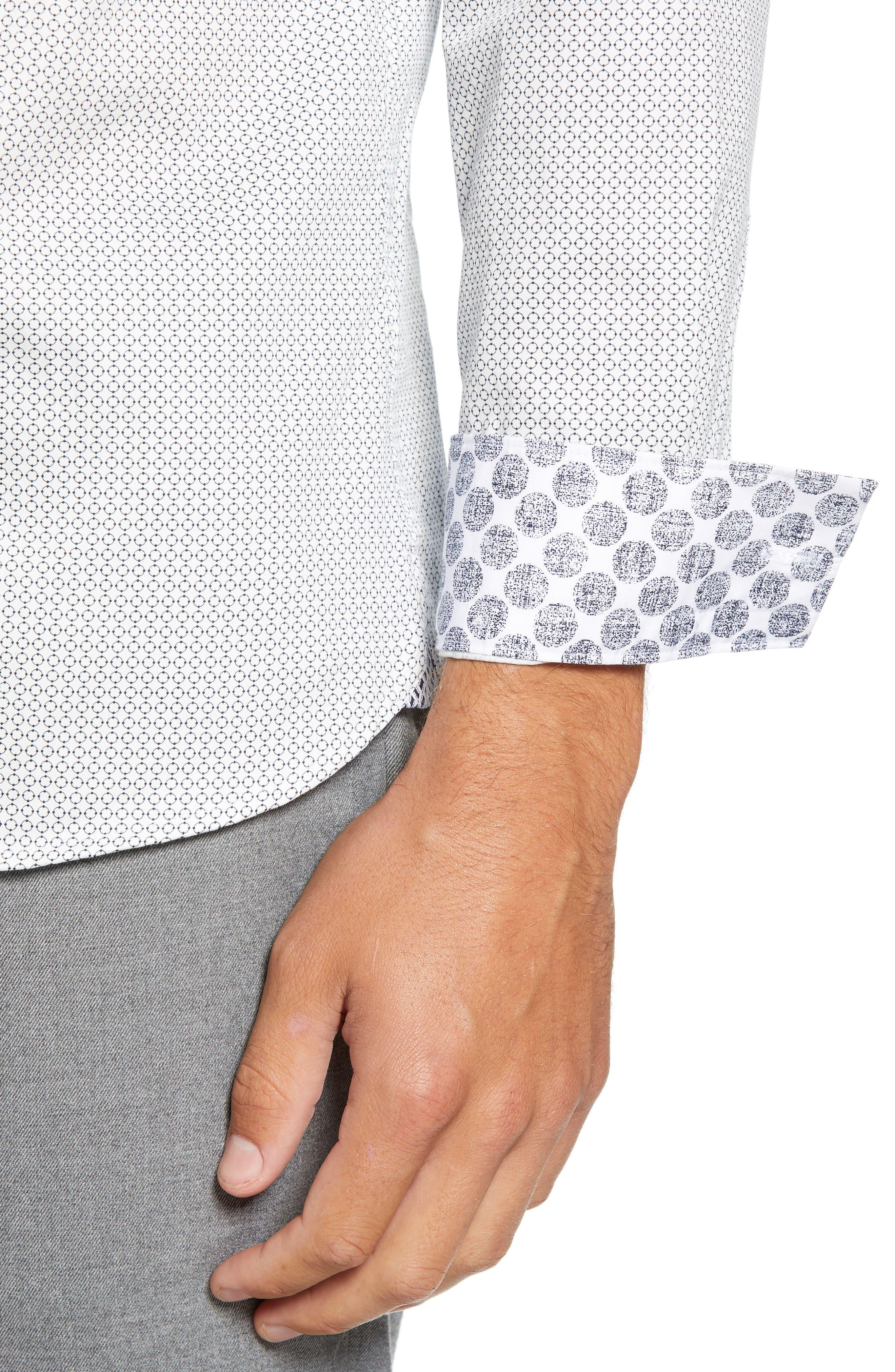 Jenkins Slim Fit Geometric Sport Shirt,                             Alternate thumbnail 2, color,                             WHITE