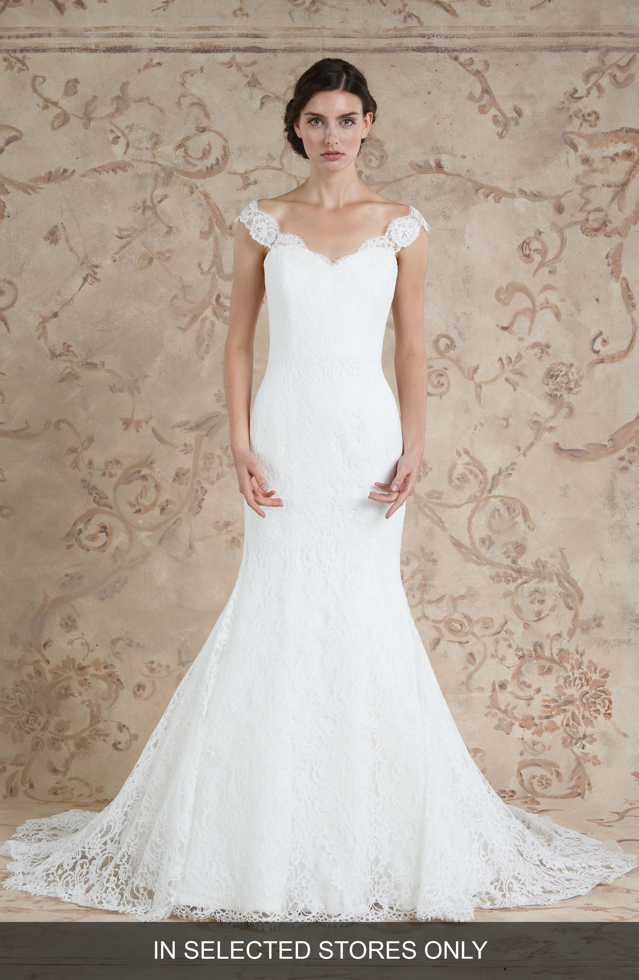 Jannan Off the Shoulder Lace Trumpet Gown,                         Main,                         color, IVORY