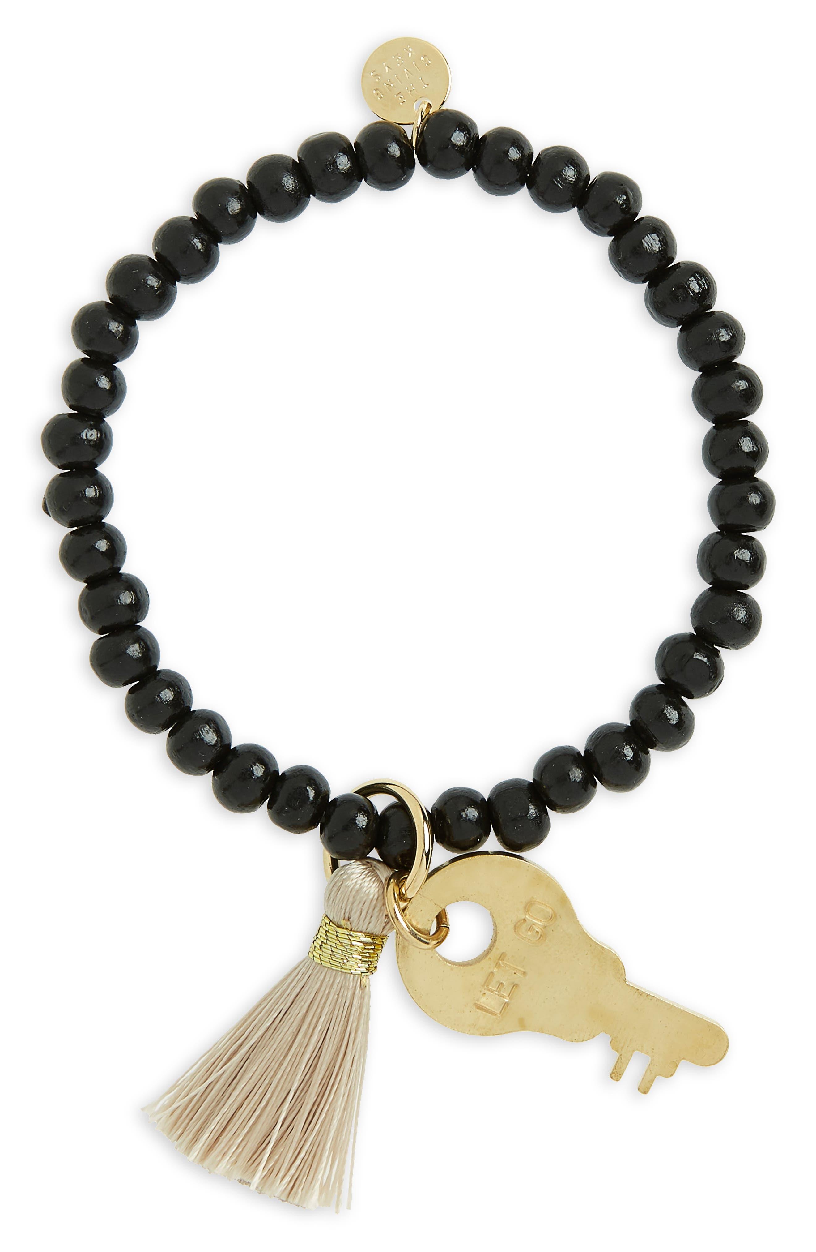 Inspiration Key Charm & Tassel Beaded Bracelet,                             Main thumbnail 1, color,                             200