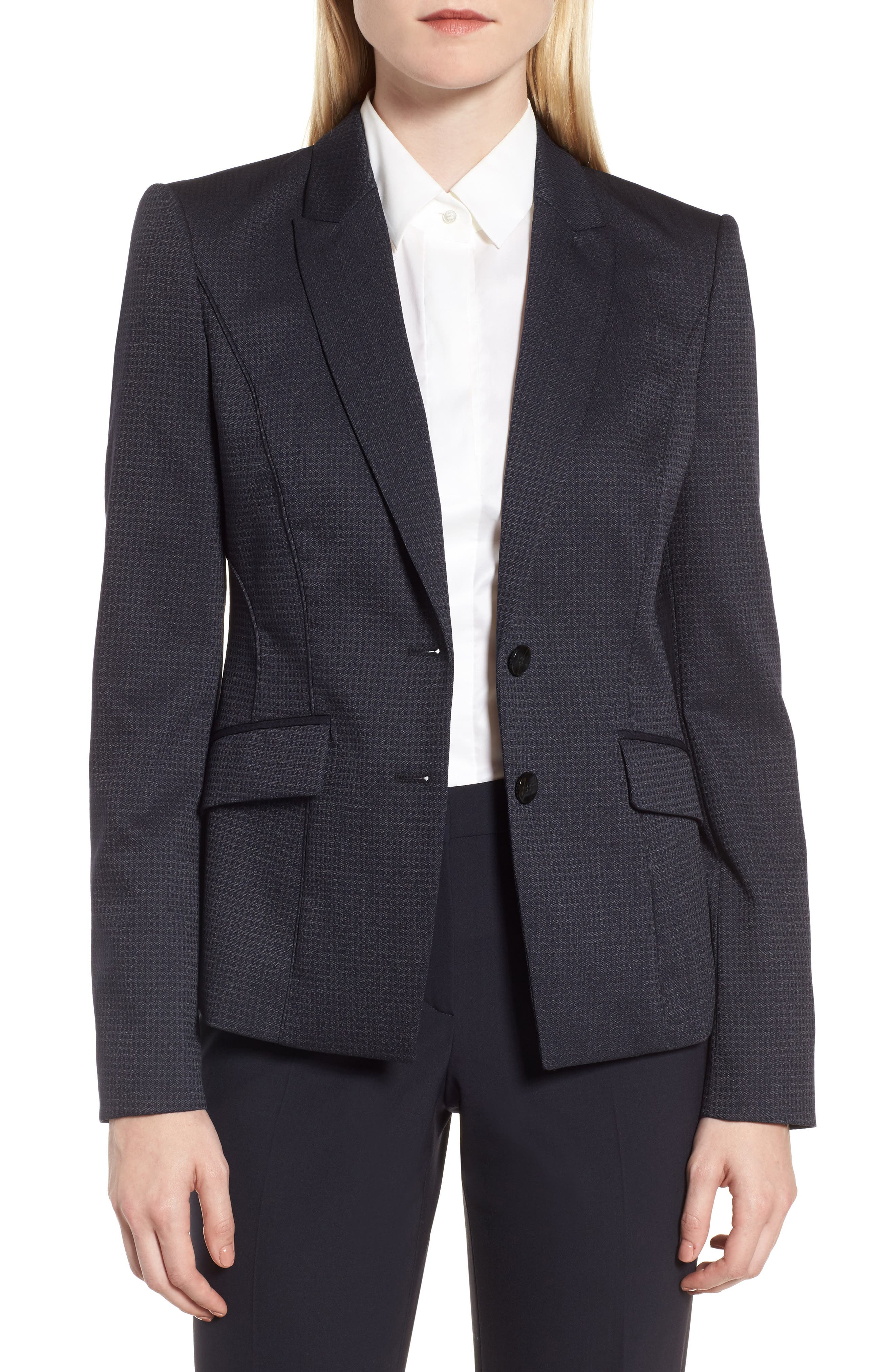 Jukani Check Wool Blend Suit Jacket,                             Main thumbnail 1, color,                             020