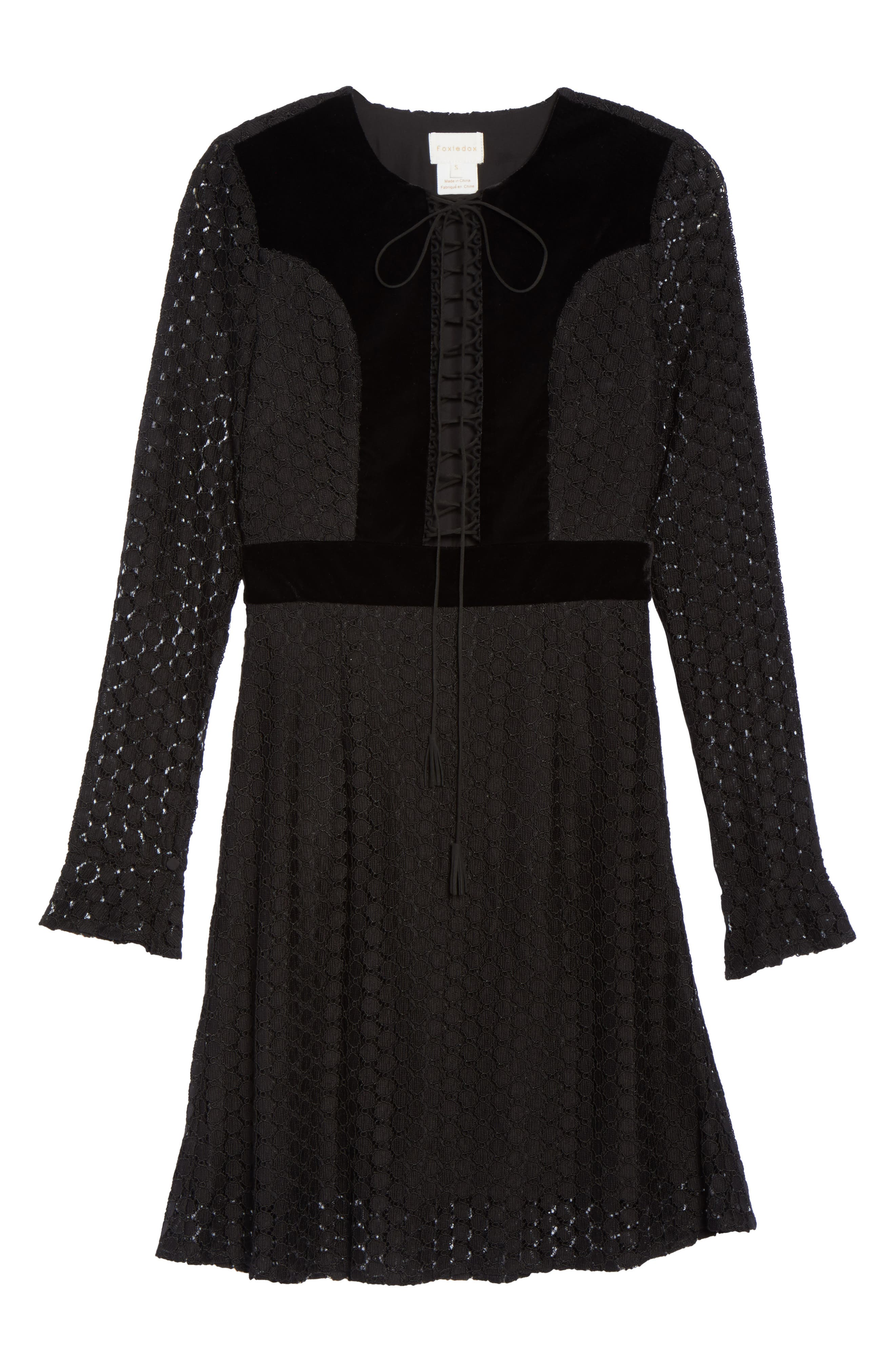 Pearl Lace & Velvet Fit & Flare Dress,                             Alternate thumbnail 6, color,                             001