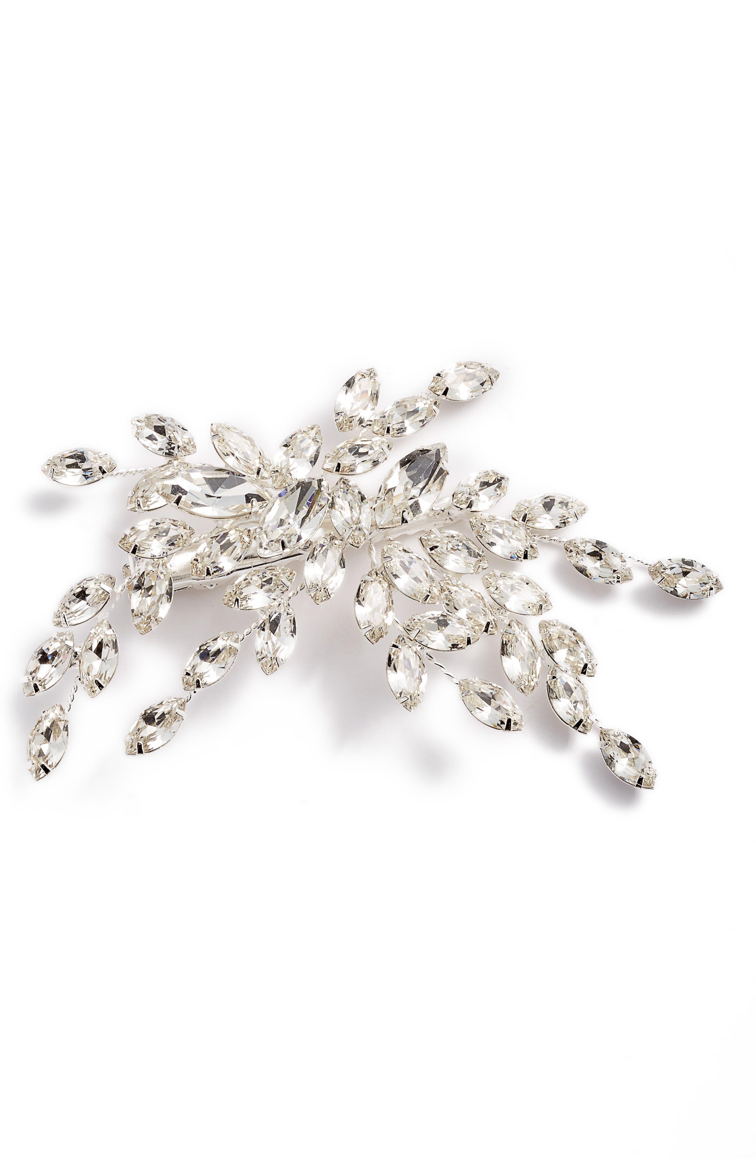 BRIDES & HAIRPINS,                             Isadora Crystal Hair Clip,                             Main thumbnail 1, color,                             SILVER