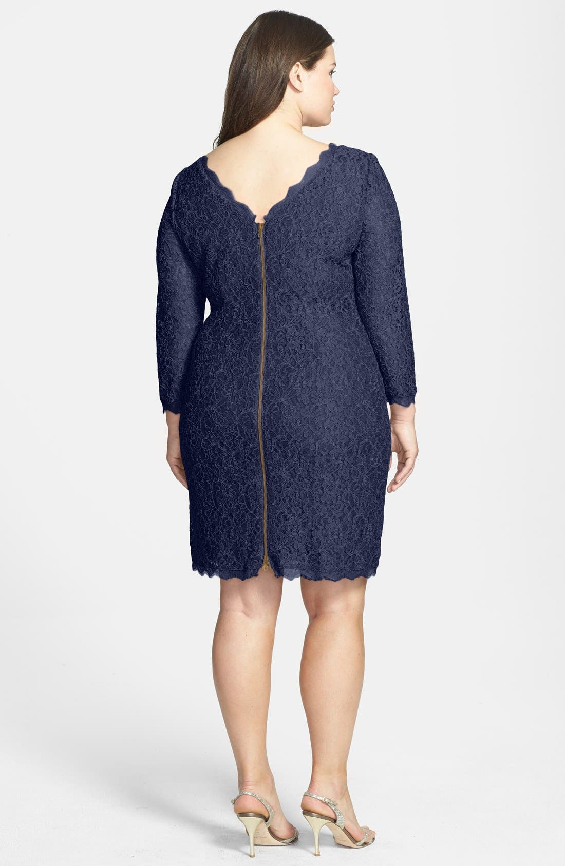 Lace Overlay Sheath Dress,                             Alternate thumbnail 8, color,                             NAVY