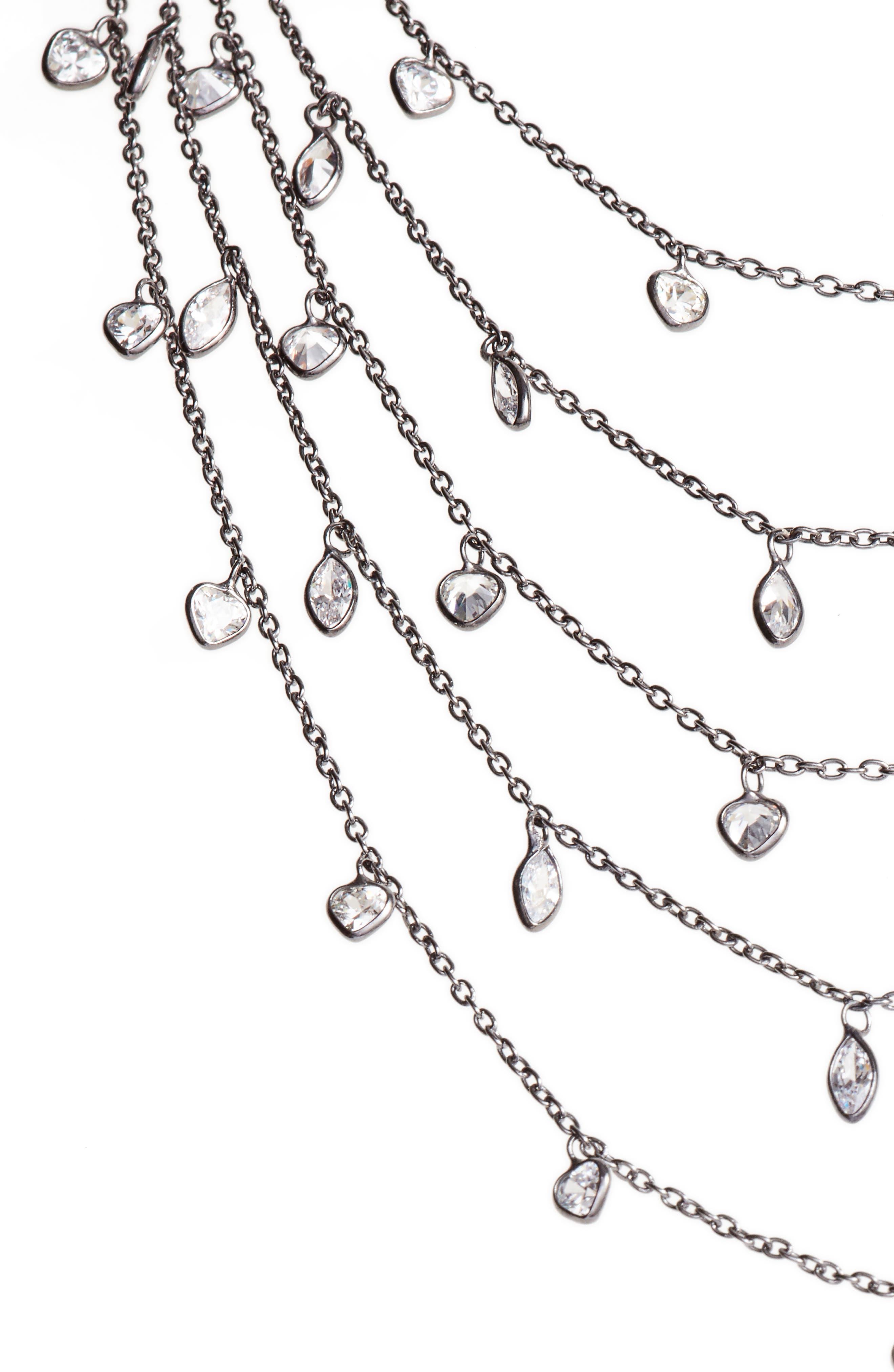 Multistrand Cubic Zirconia Necklace,                         Main,                         color, BLACK