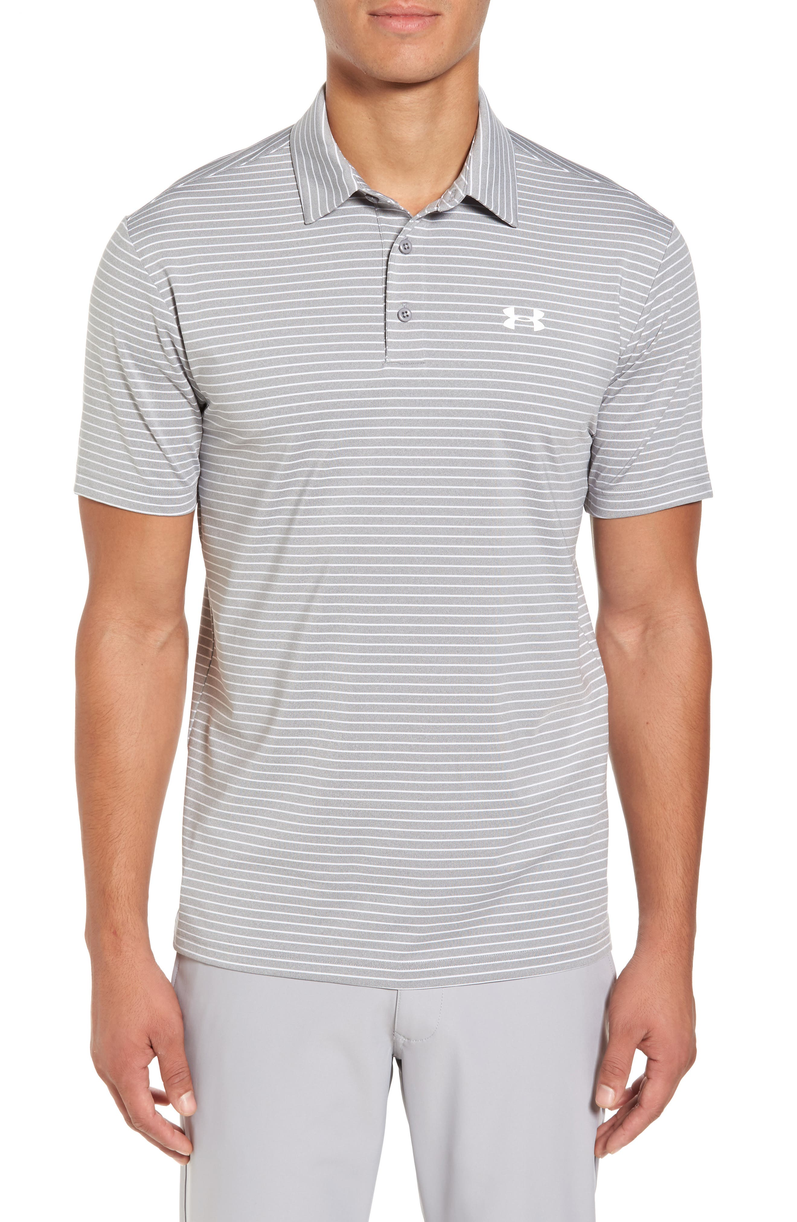 'Playoff' Loose Fit Short Sleeve Polo,                             Main thumbnail 1, color,                             TRUE GREY HEATHER/ WHT STRIPE