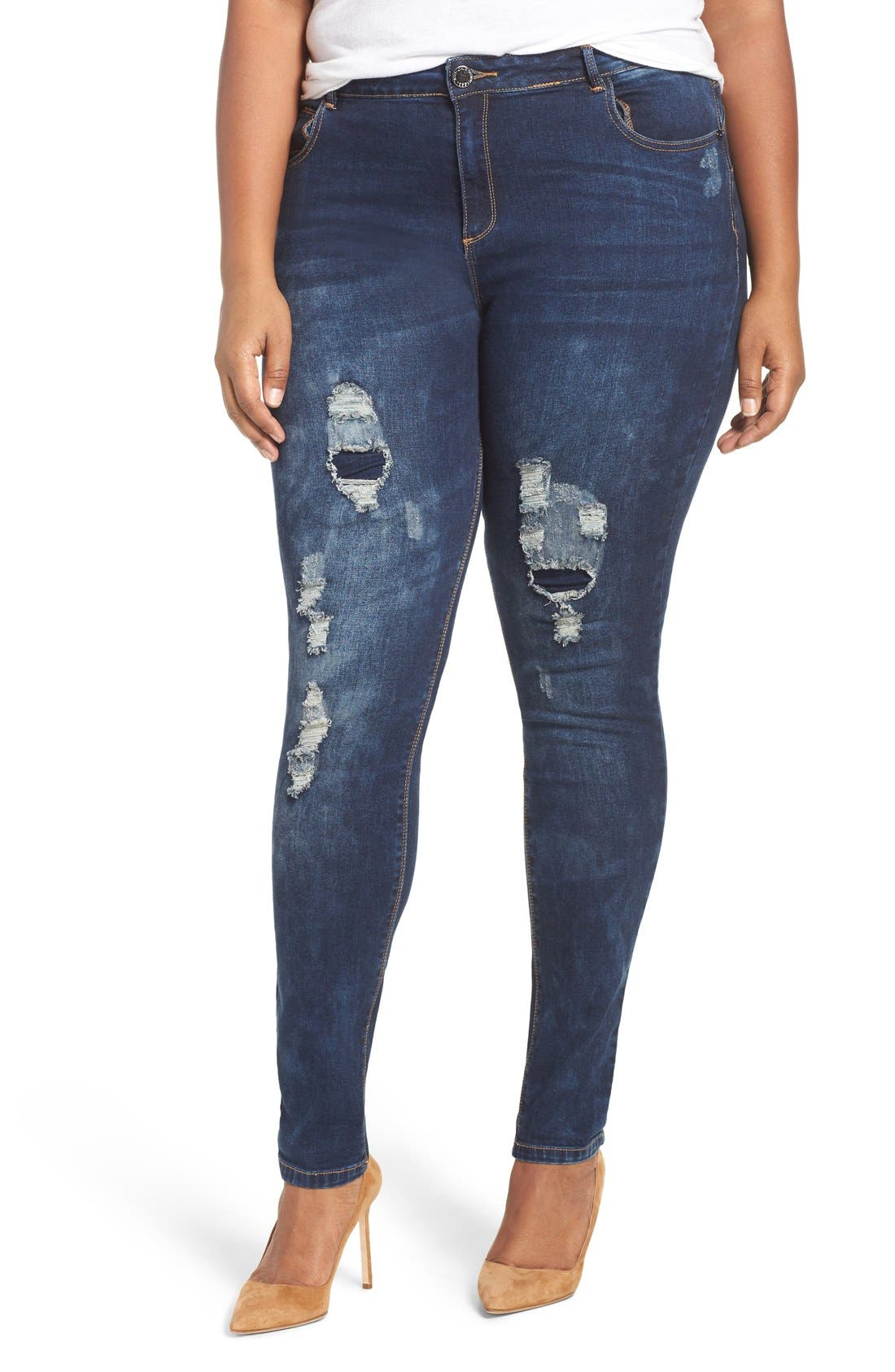 'Dismantle' Ripped Stretch Skinny Jeans,                             Main thumbnail 1, color,                             DARK DENIM