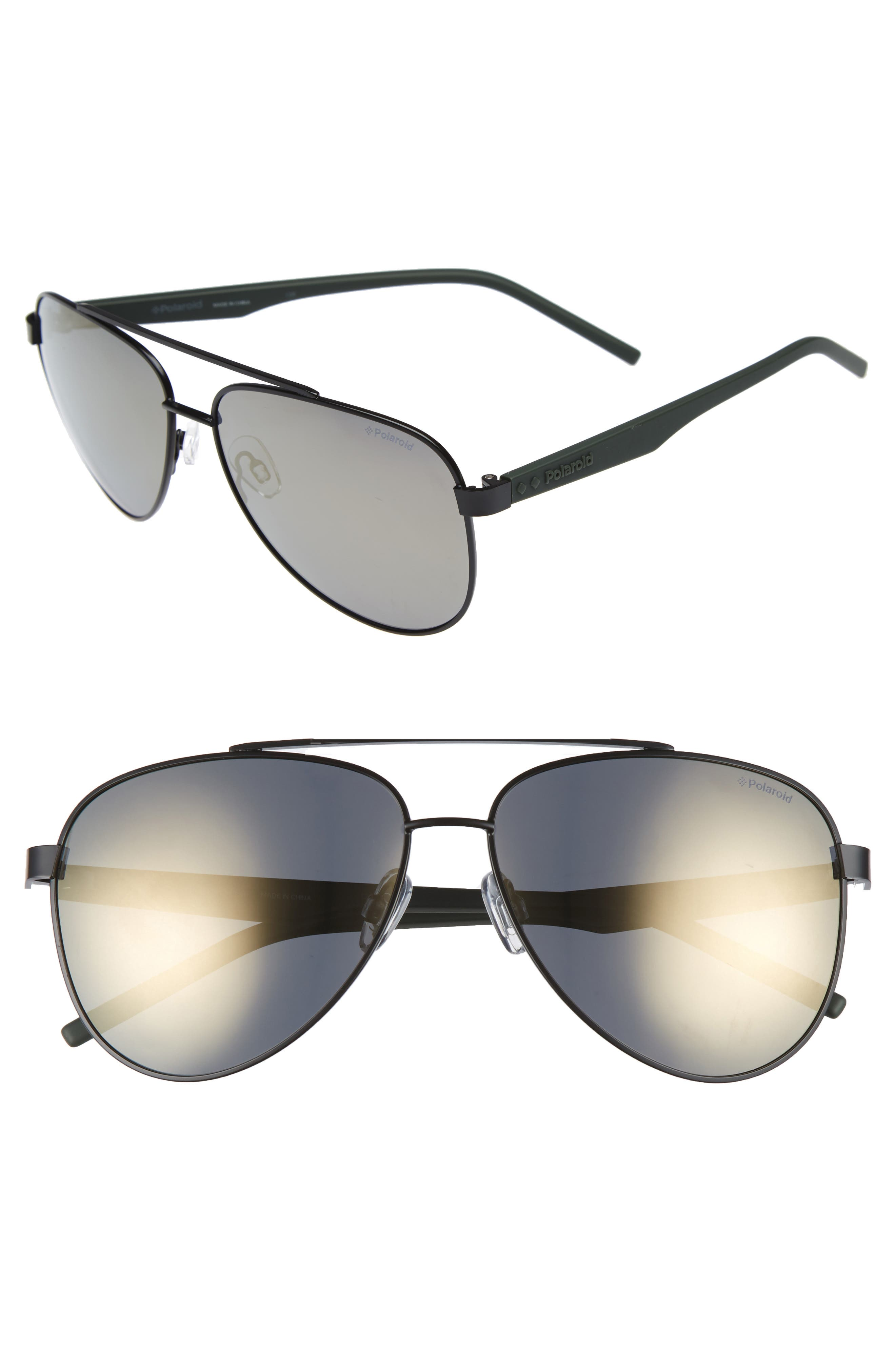 Polaroid 61mm Polarized Aviator Sunglasses,                         Main,                         color, 001