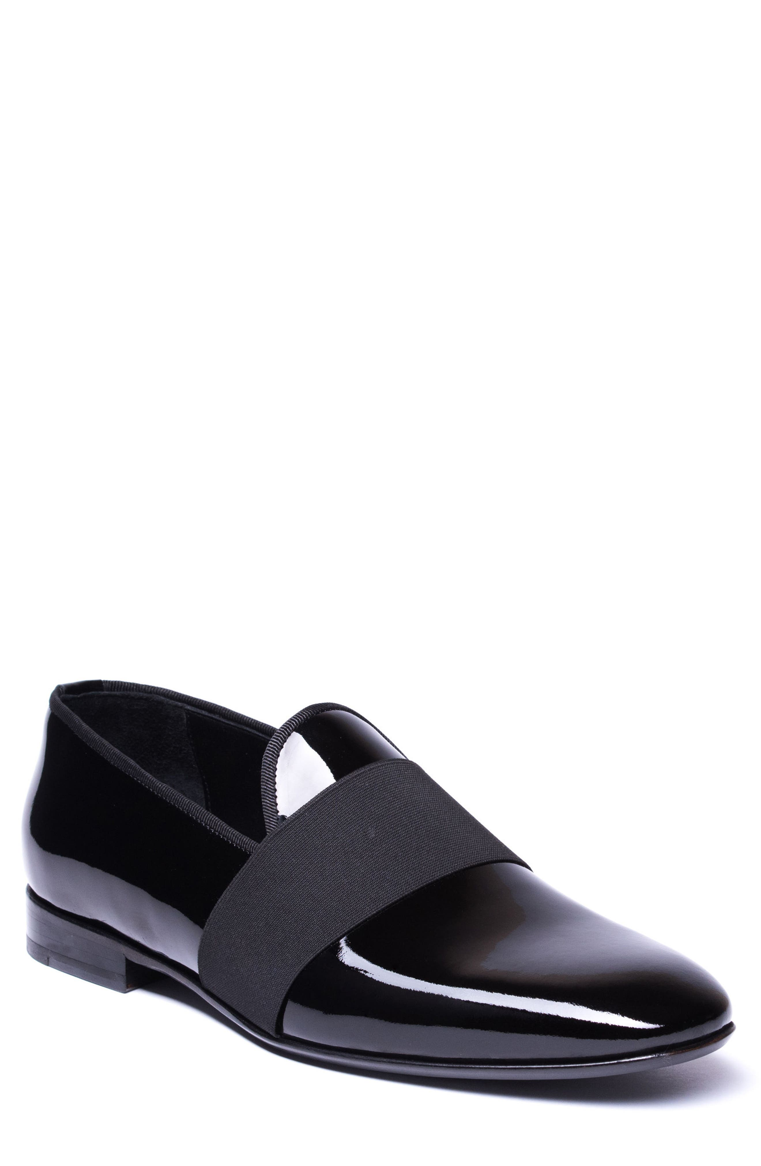 Alessandro Banded Venetian Loafer,                         Main,                         color, BLACK LEATHER