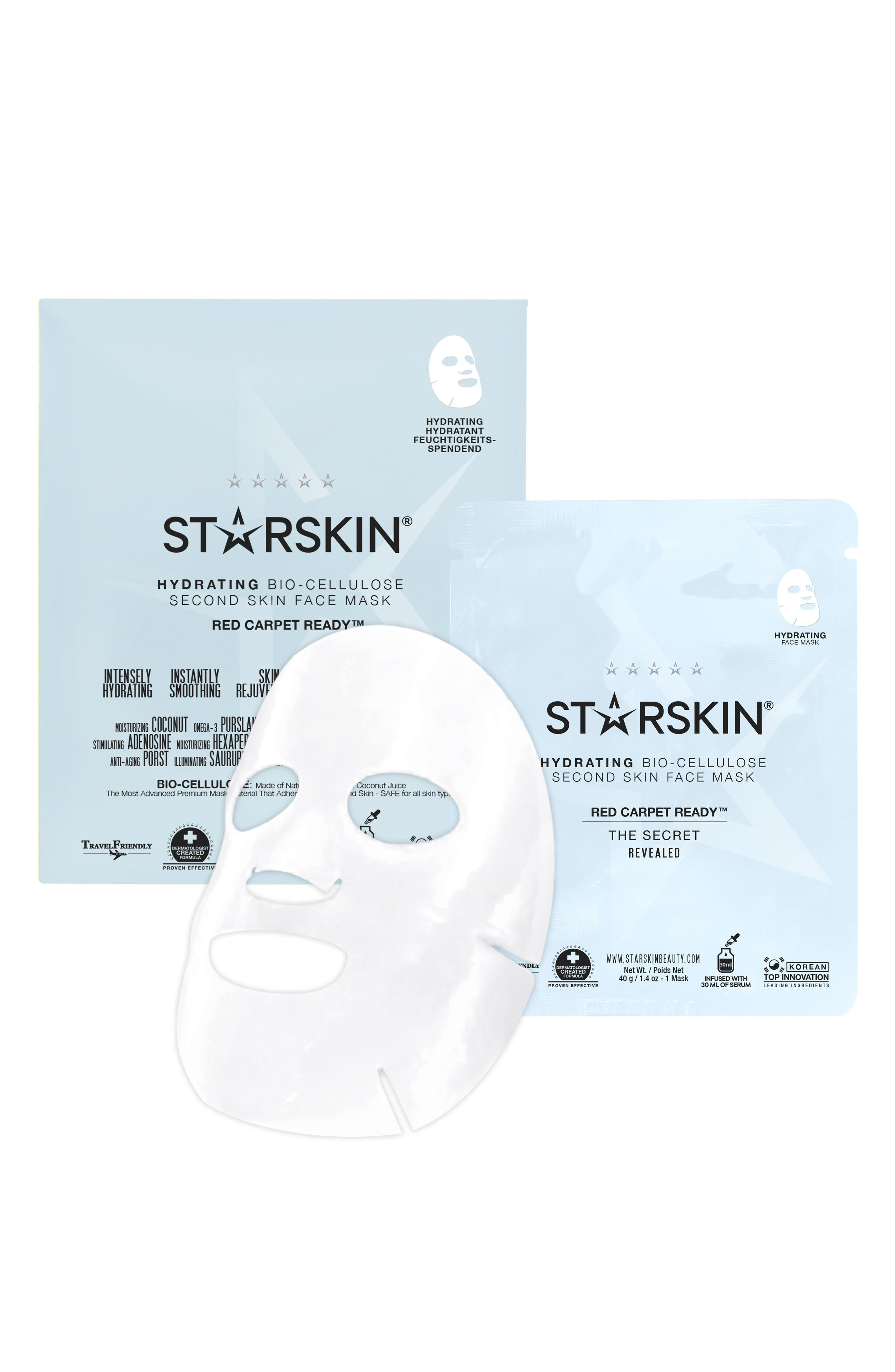 Red Carpet Ready Hydrating Bio-Cellulose Second Skin Face Mask,                             Main thumbnail 1, color,                             NO COLOR