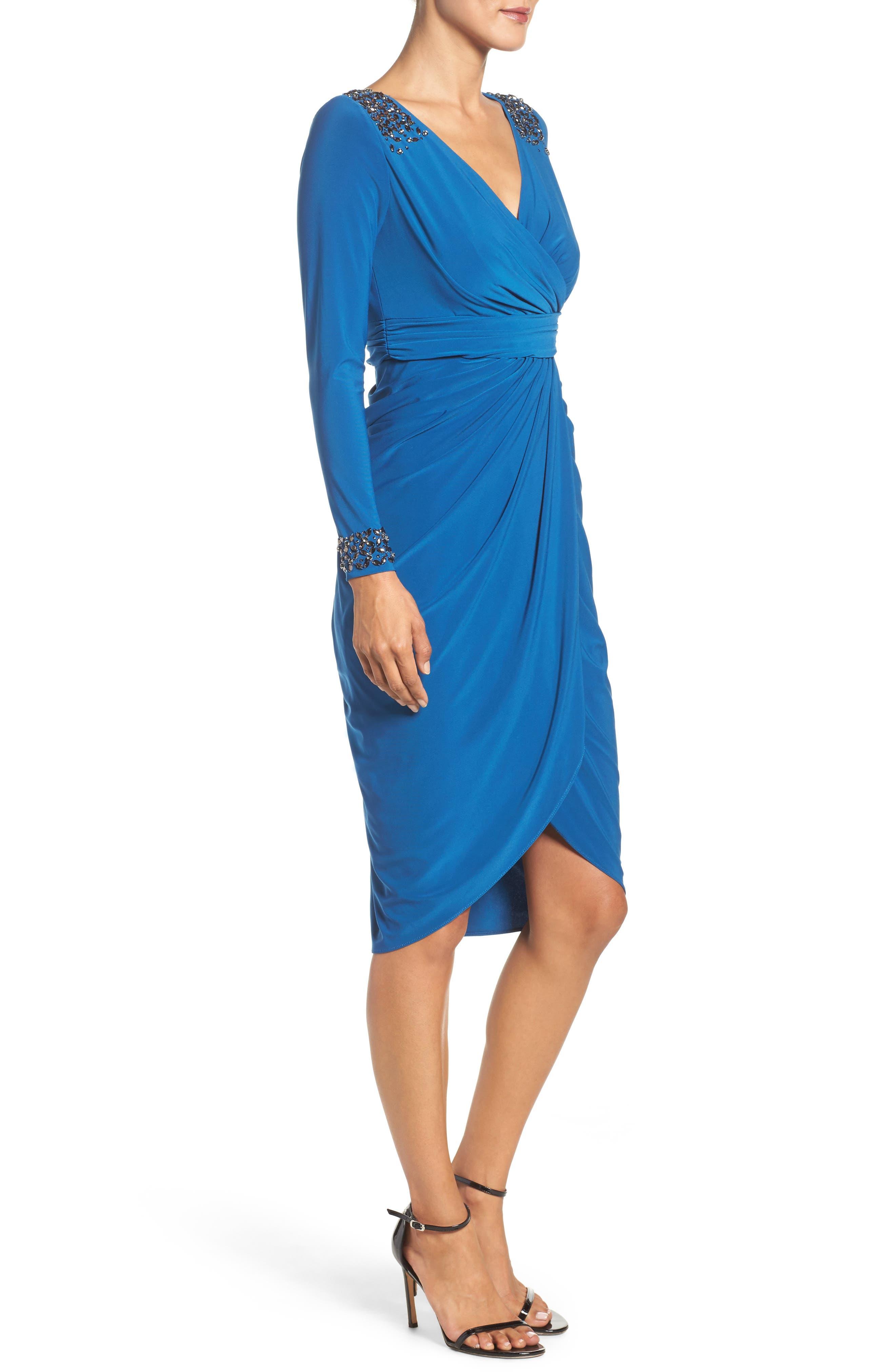 Embellished Wrap Dress,                             Alternate thumbnail 3, color,                             480