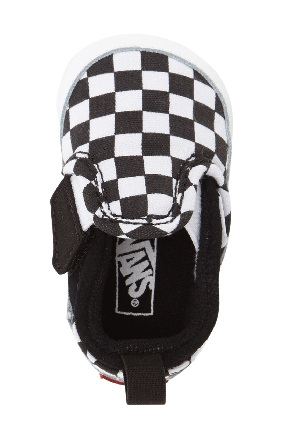 Slip-On Crib Shoe,                             Alternate thumbnail 2, color,                             CHECKER BLACK TRUE WHITE