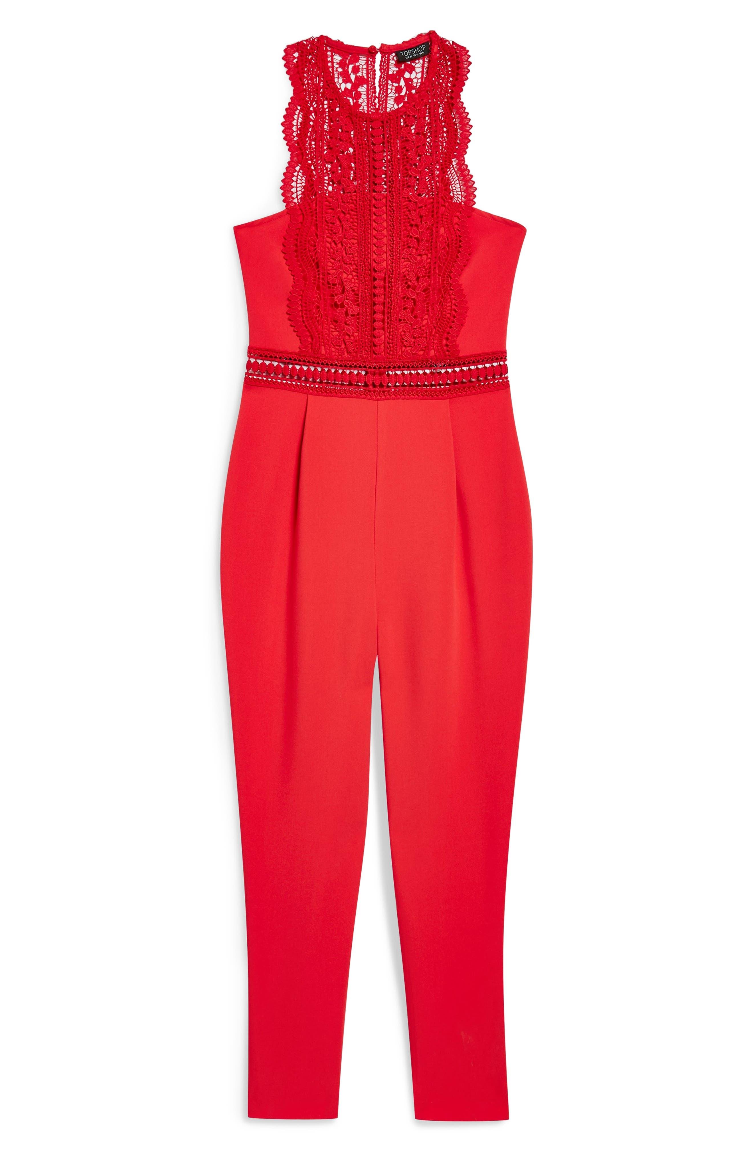 Saskia Lace Trim Jumpsuit,                             Alternate thumbnail 5, color,                             RED