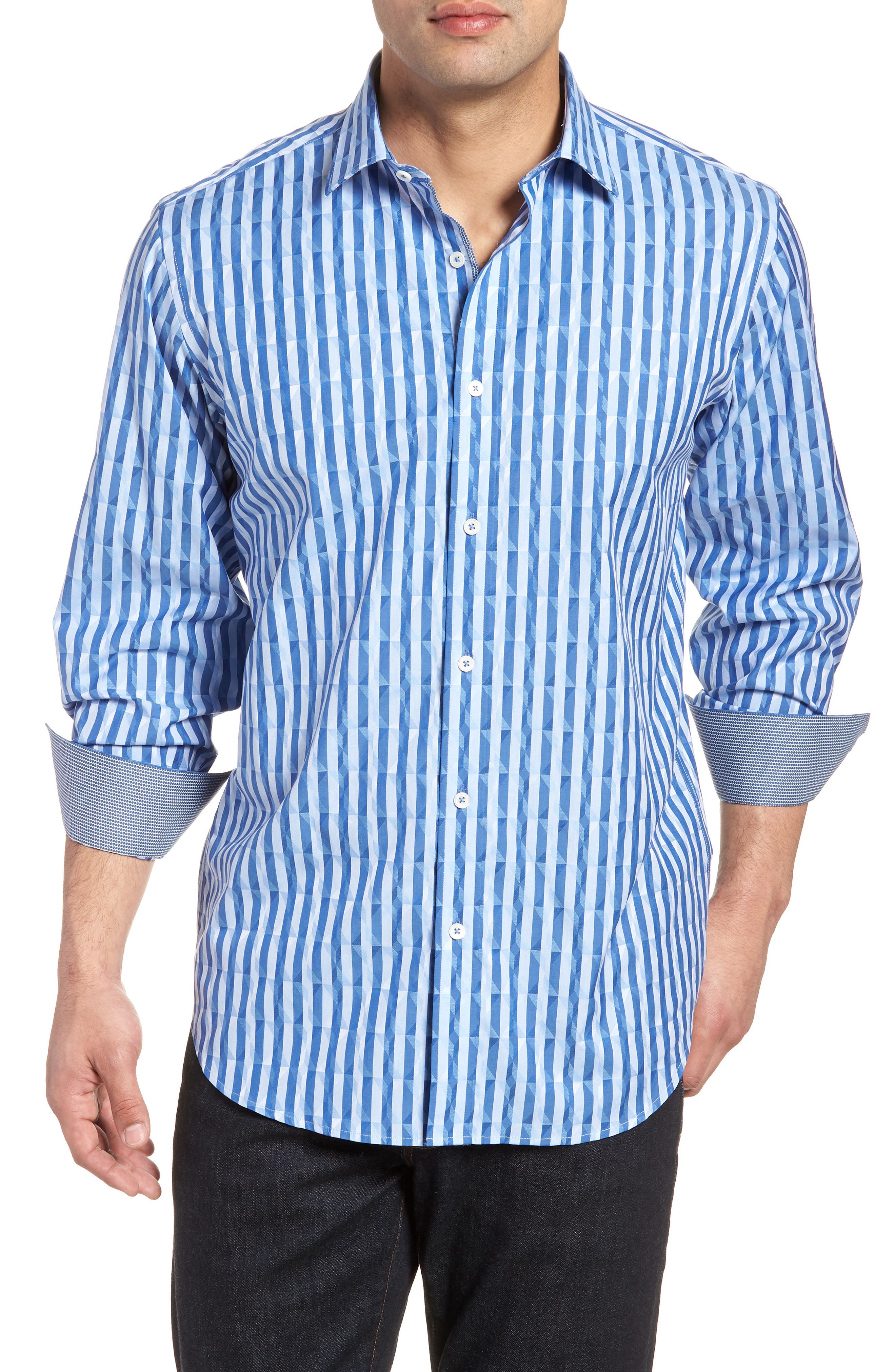 Candy Stripe Geometric Classic Fit Sport Shirt,                         Main,                         color, 422