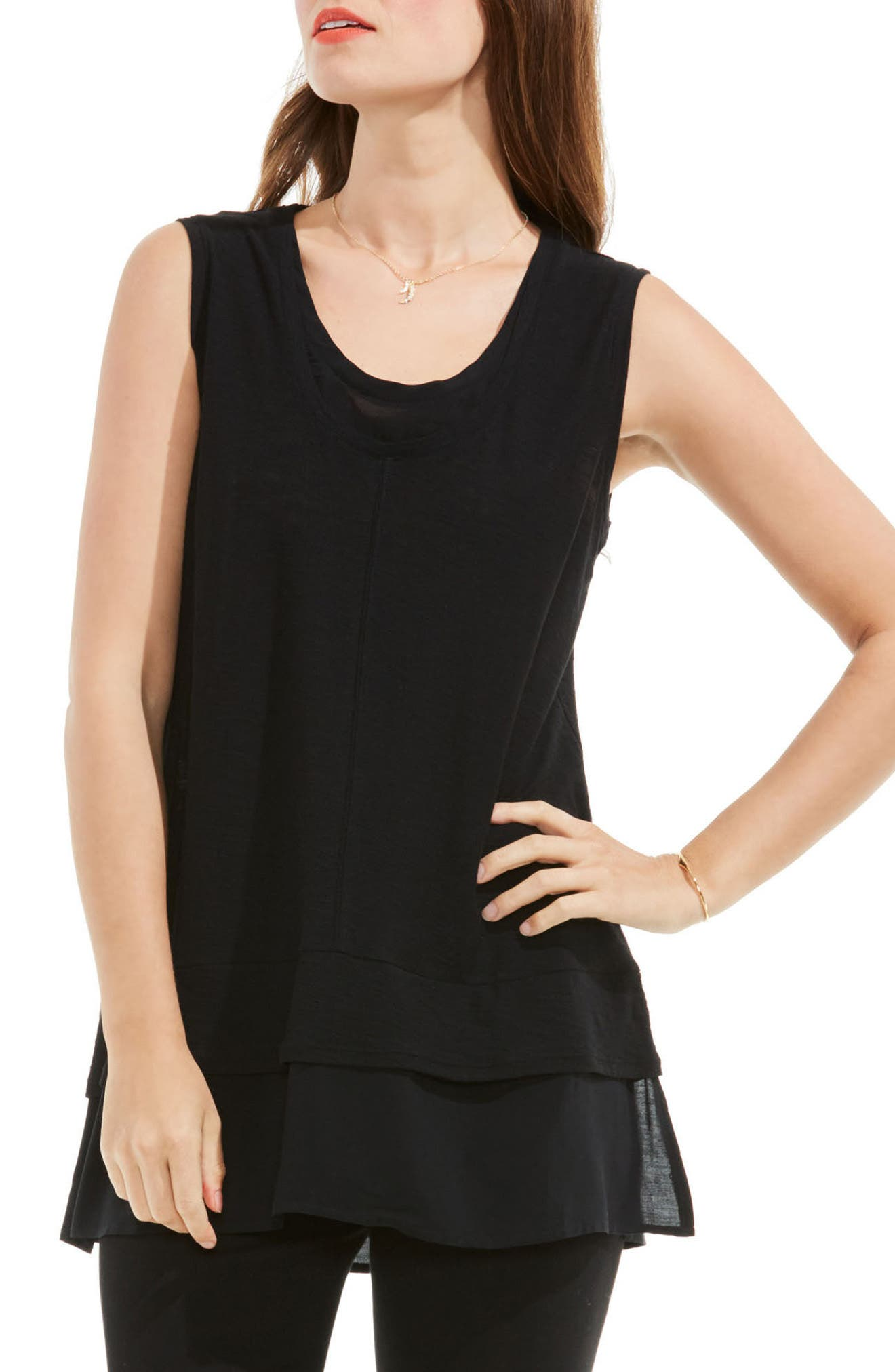 Two by Vince Camuto Mixed Media Top,                             Main thumbnail 1, color,                             RICH BLACK