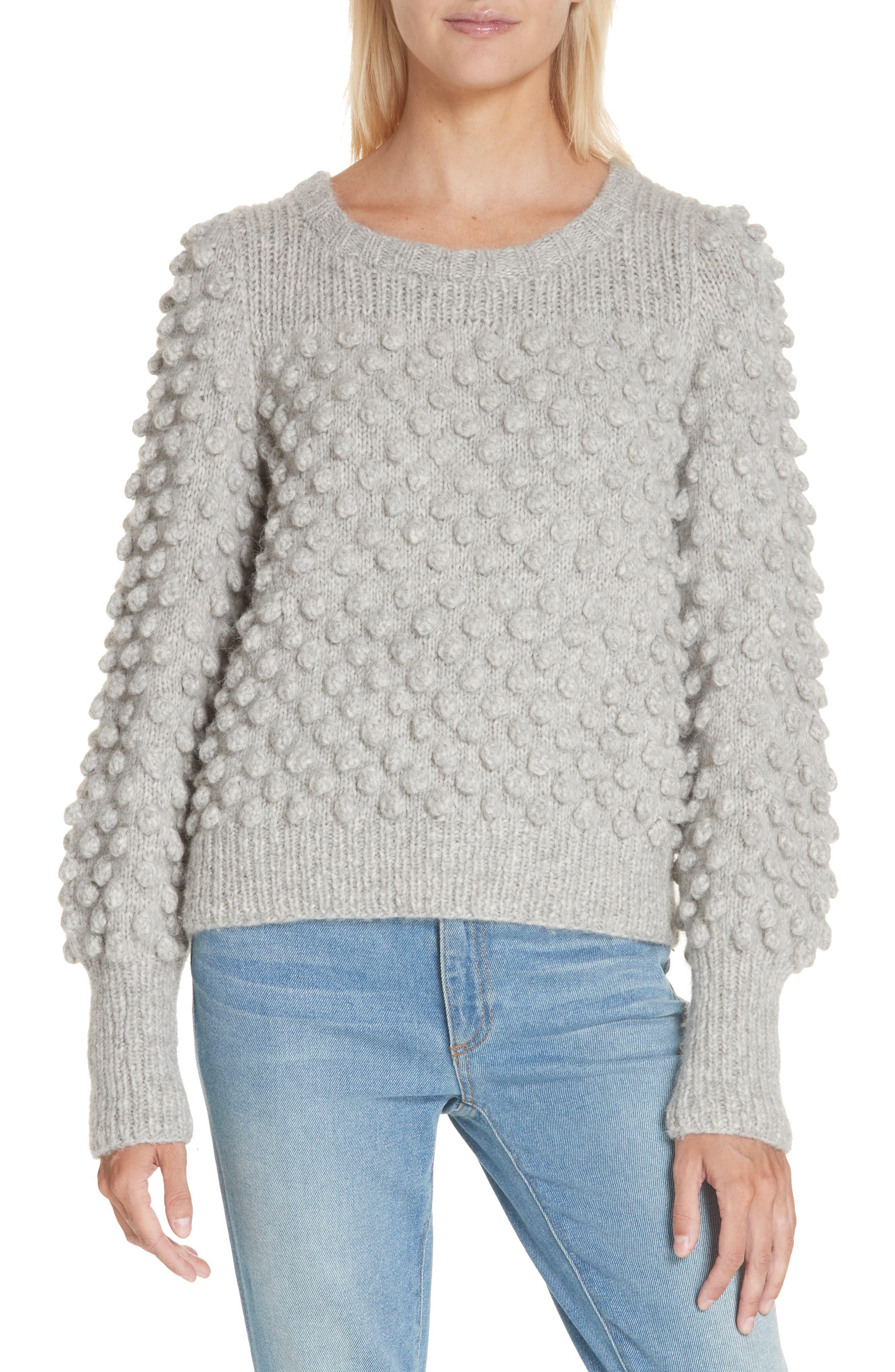 Camilla Baby Alpaca Blend Sweater, Main, color, PALE MELANGE GREY
