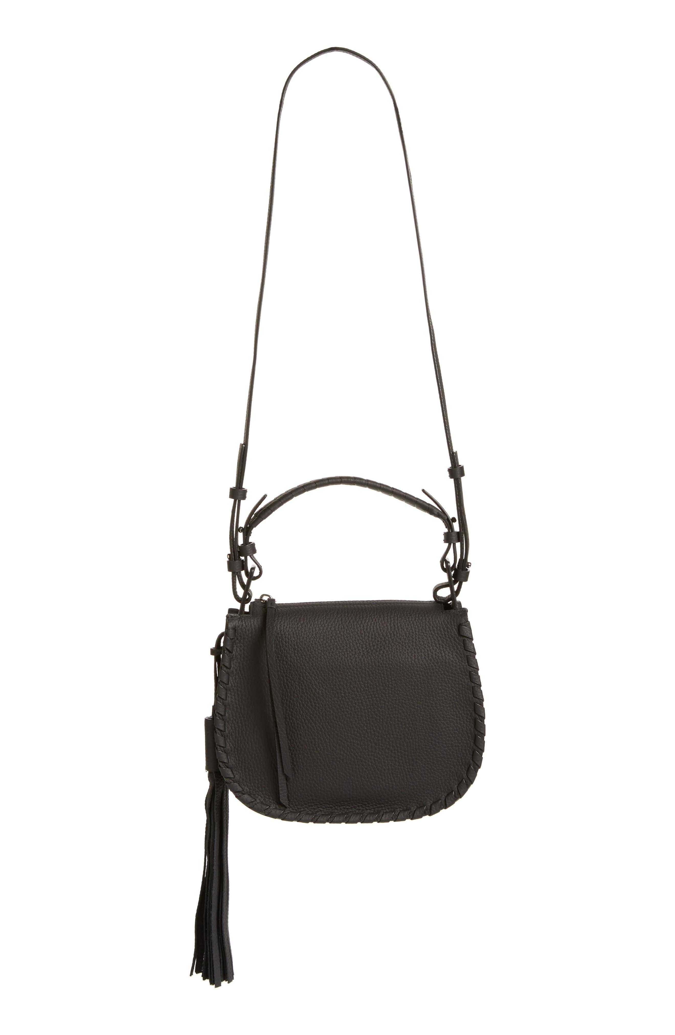 Mori Leather Crossbody Bag,                         Main,                         color, BLACK