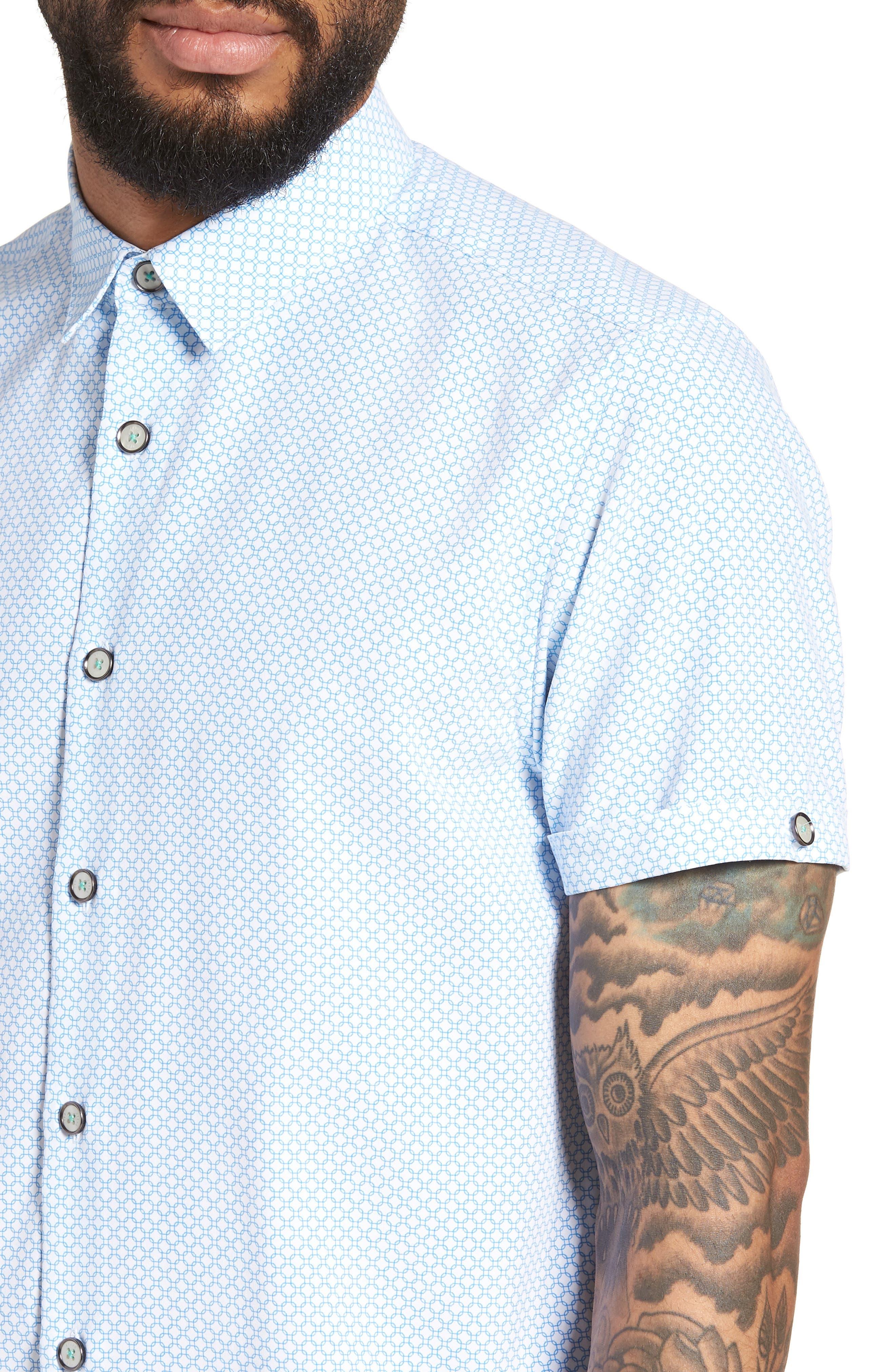 Slim Fit Short Sleeve Sport Shirt,                             Alternate thumbnail 4, color,                             WHITE