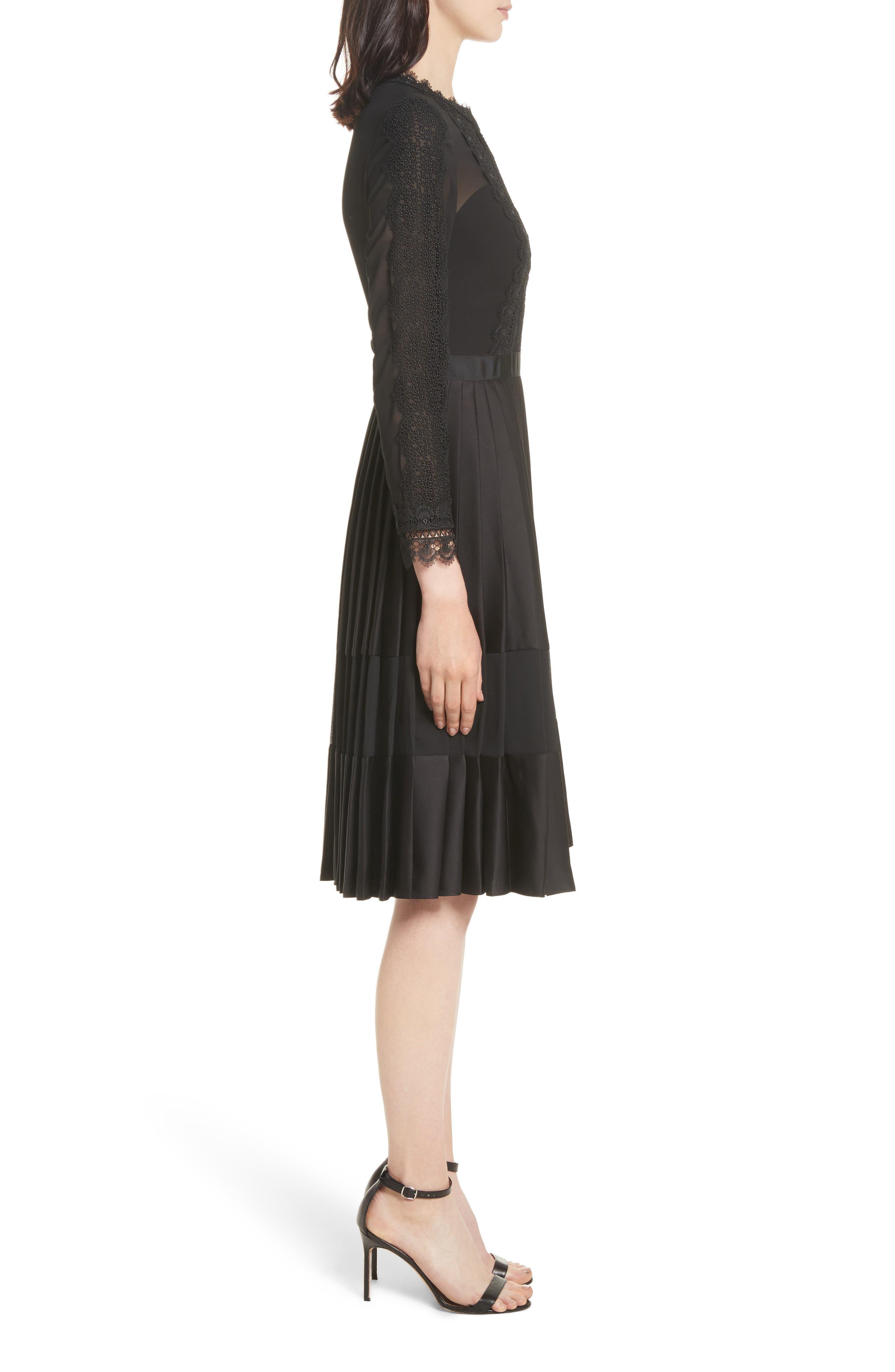 Lace Trim Pleated Midi Dress,                             Alternate thumbnail 3, color,                             001