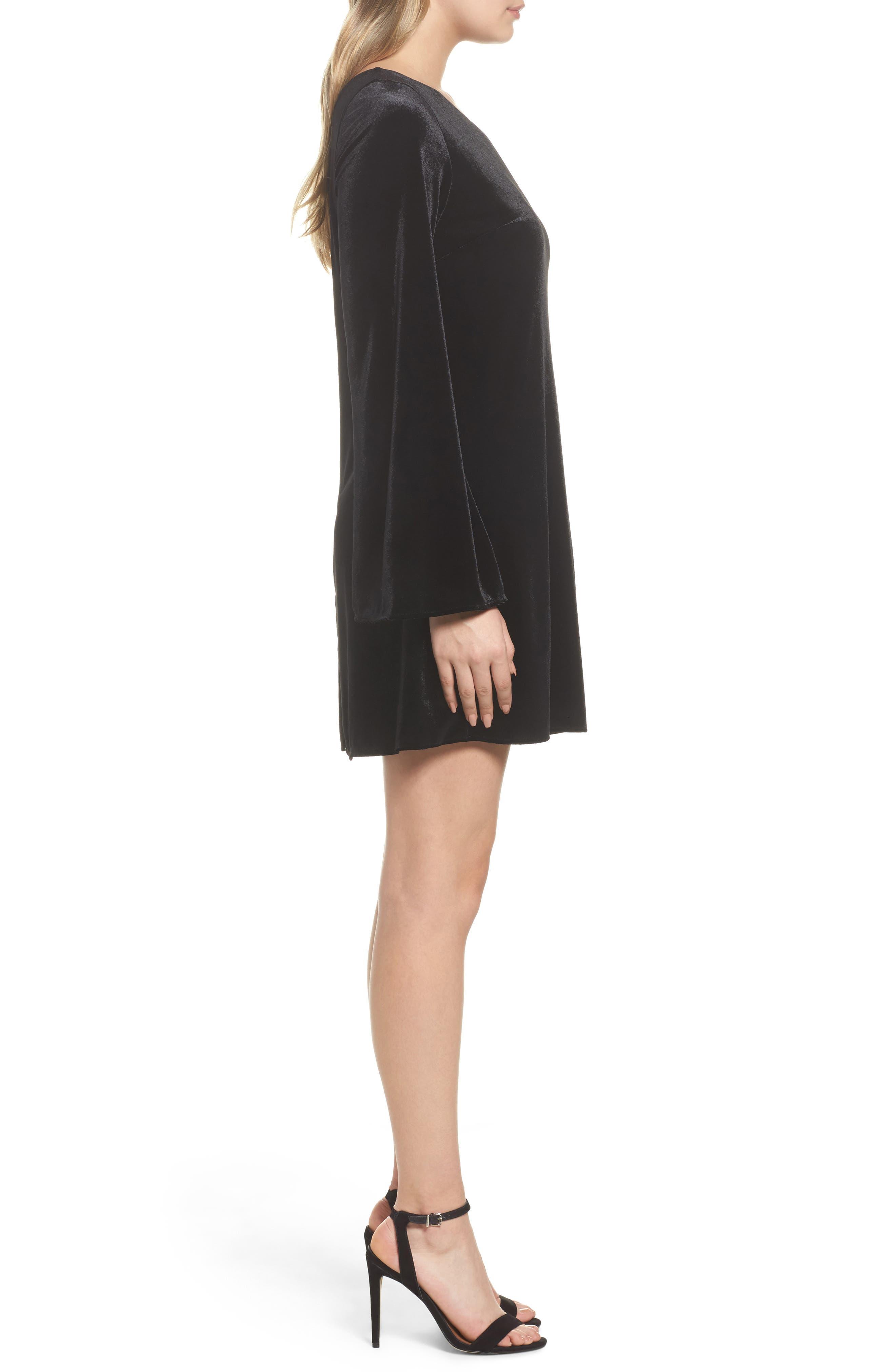 Aurore One-Shoulder Velvet Dress,                             Alternate thumbnail 3, color,                             001