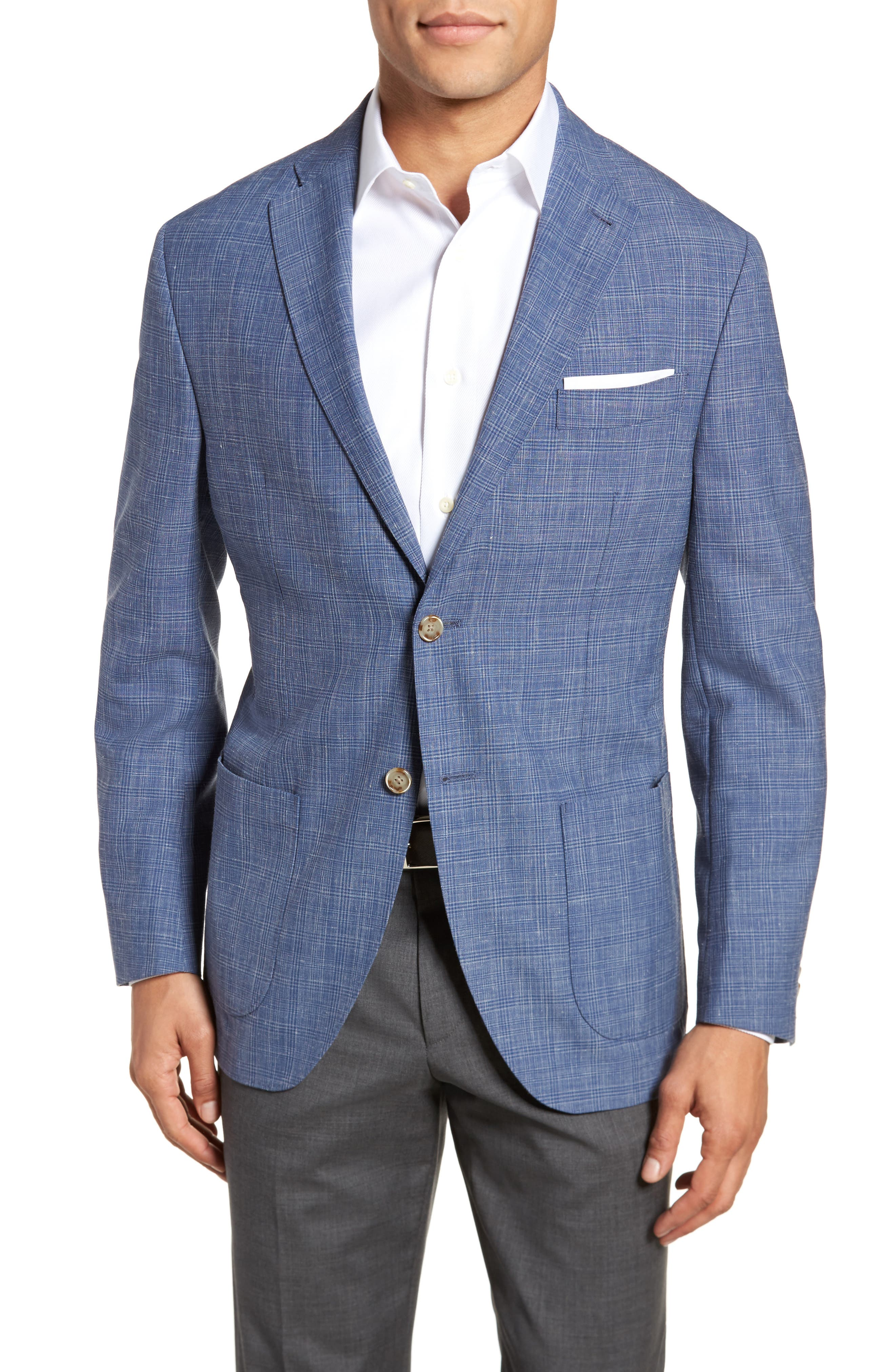 Trent Trim Fit Plaid Wool Blend Sport Coat,                             Main thumbnail 1, color,                             400