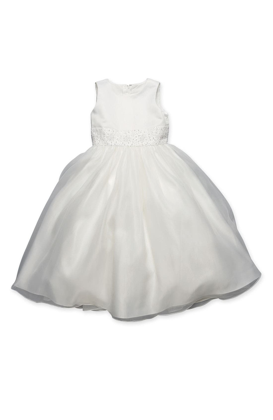 Beaded Satin Sleeveless Dress,                             Alternate thumbnail 2, color,                             IVORY 2