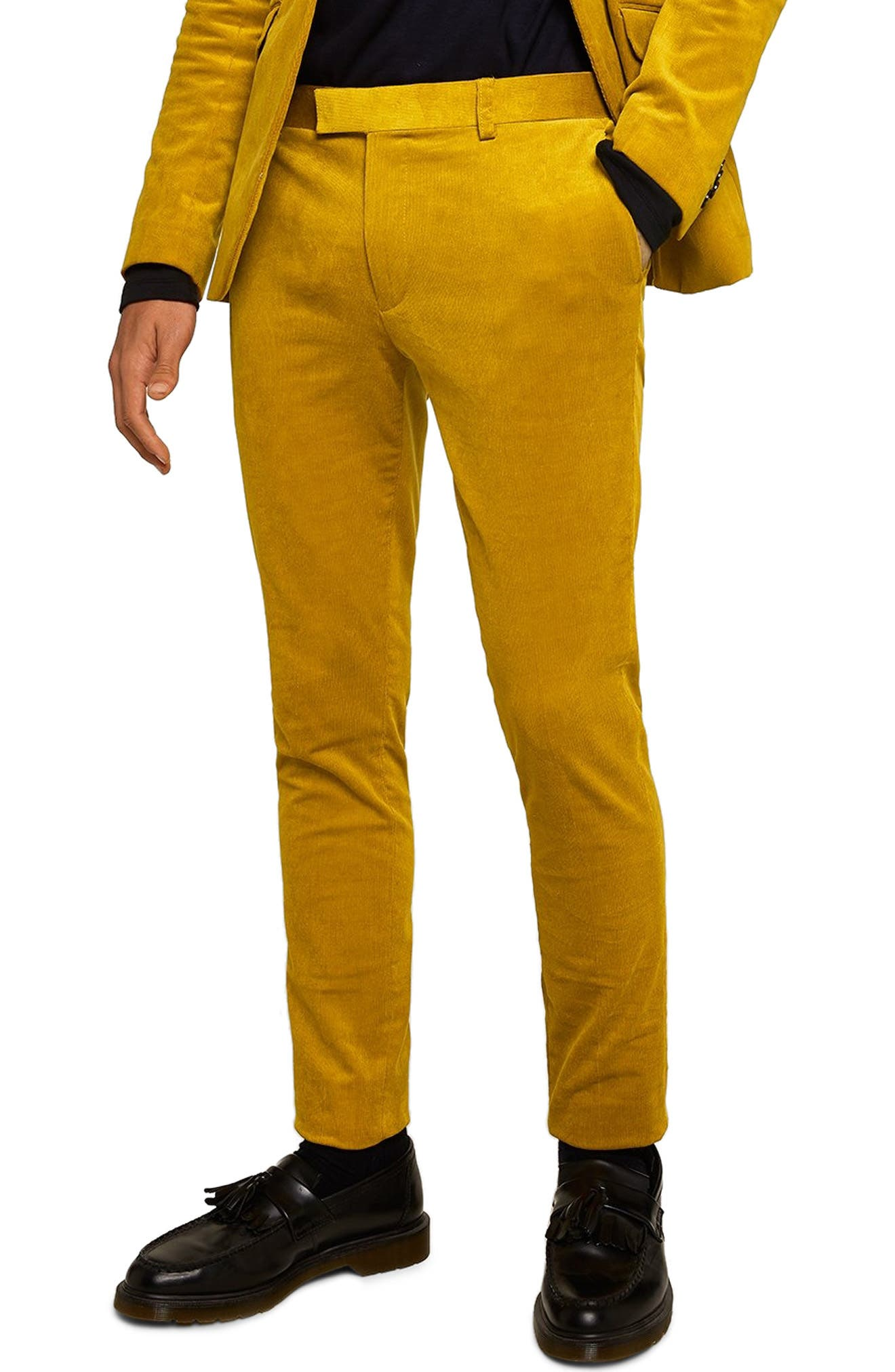 Super Skinny Fit Corduroy Trousers,                         Main,                         color, YELLOW