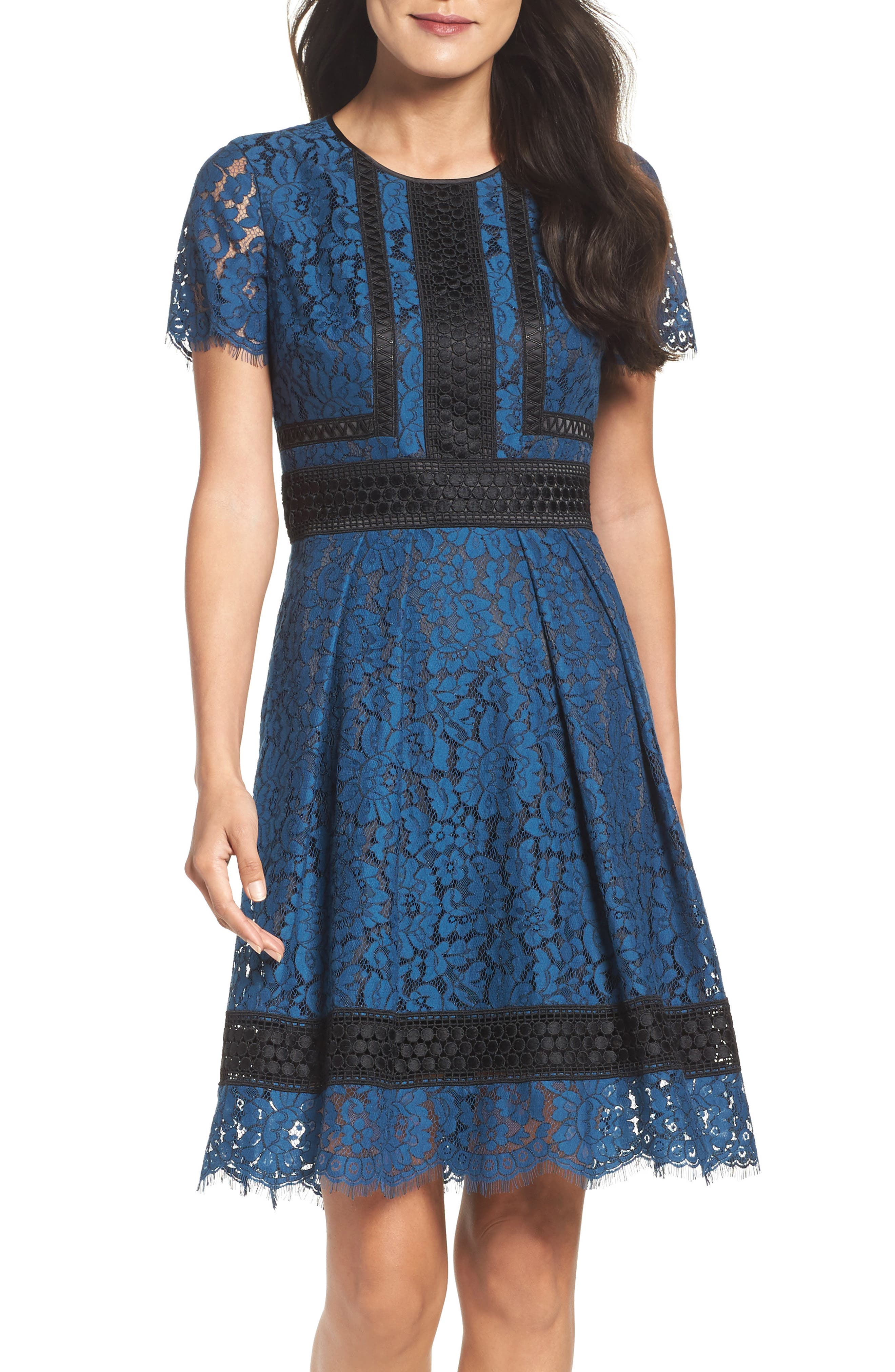 Lace Fit & Flare Dress,                             Alternate thumbnail 10, color,