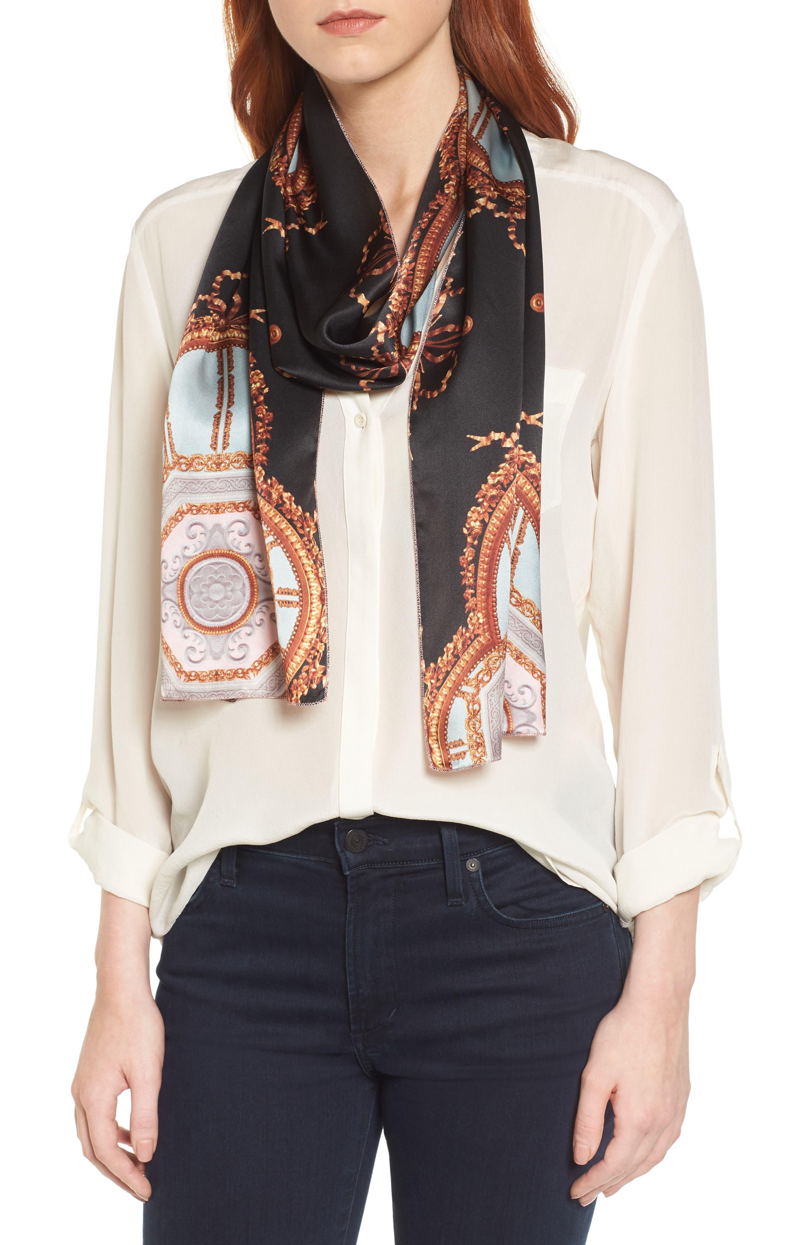 Versailles Skinny Silk Scarf,                         Main,                         color,