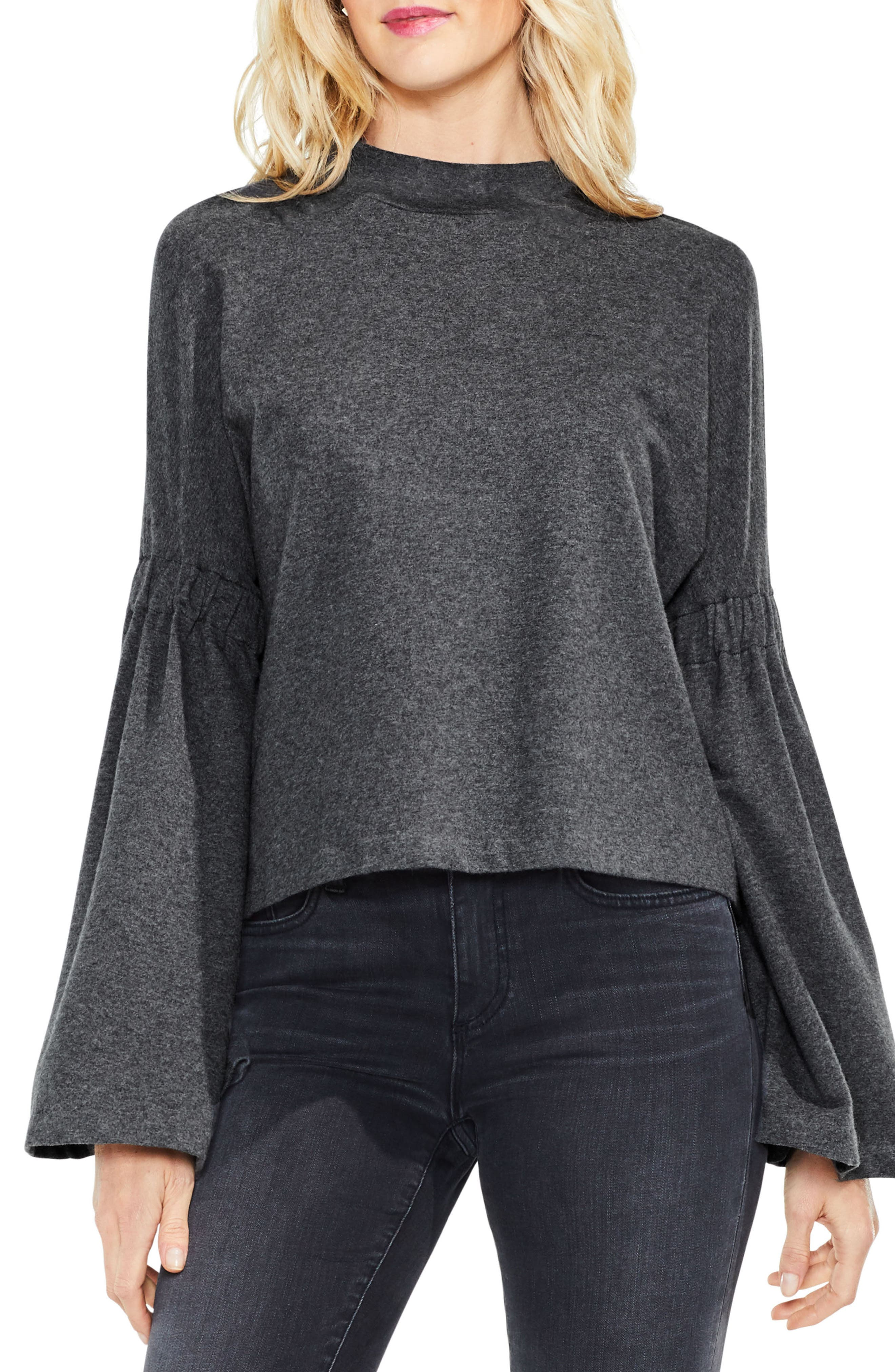 Mock Neck Bell Sleeve Top,                             Main thumbnail 2, color,