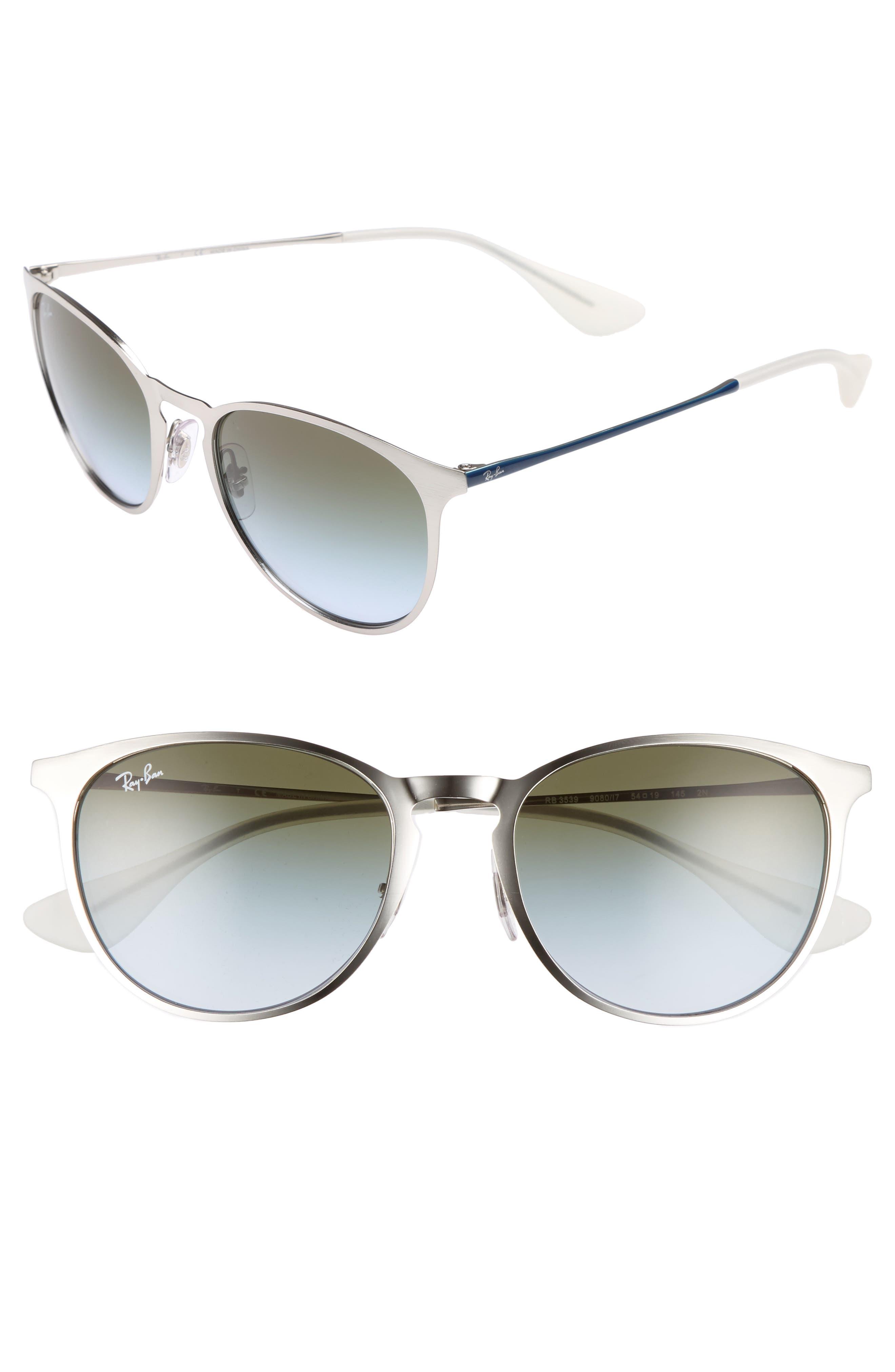 Ray-Ban Erika 5m Metal Sunglasses - Silver/ Blue