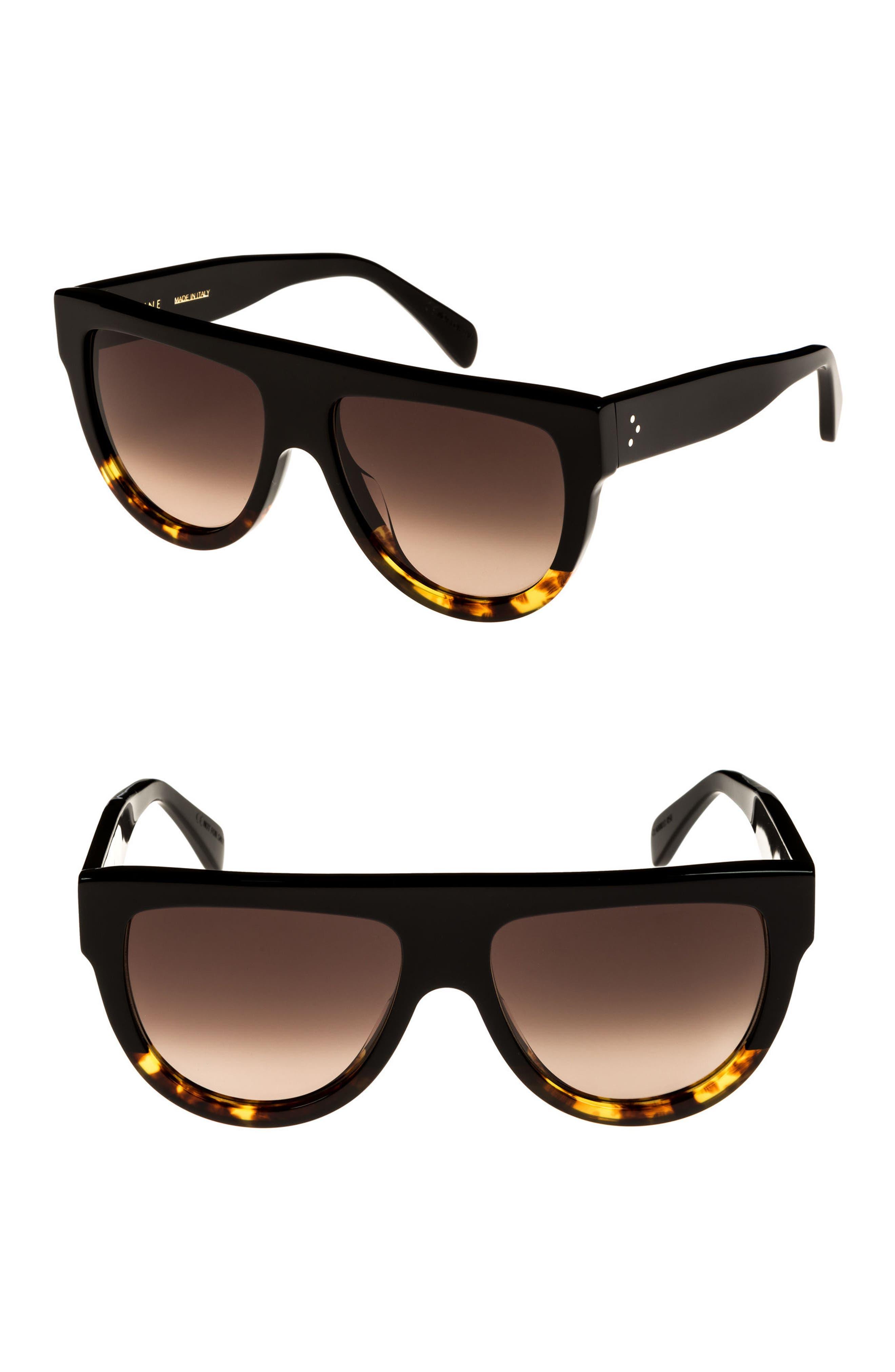 Flat Top Sunglasses,                             Alternate thumbnail 2, color,                             BLACK/ HAVANA/ SMOKE