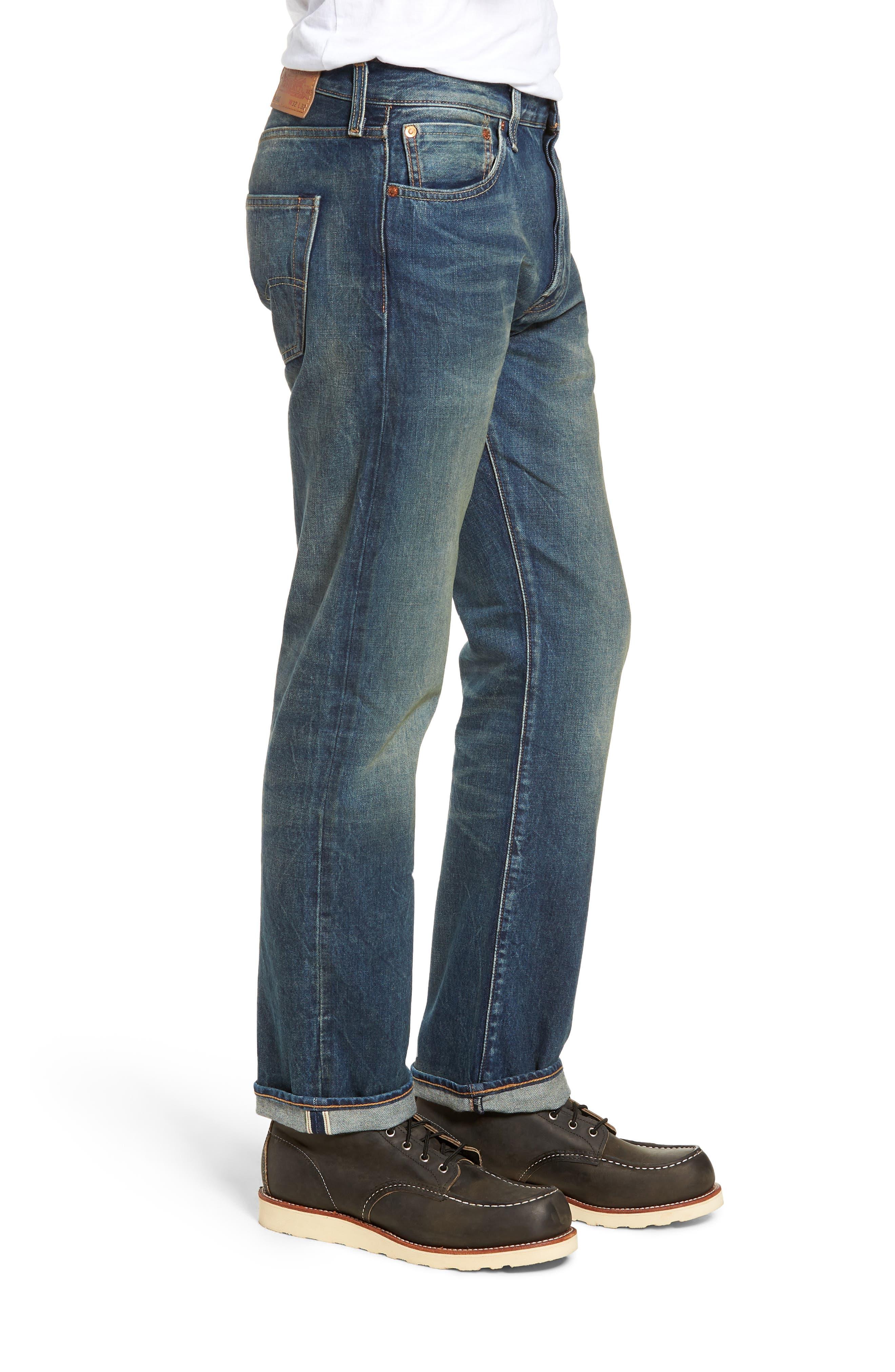 501<sup>®</sup> Original Straight Leg Selvedge Jeans,                             Alternate thumbnail 3, color,                             401