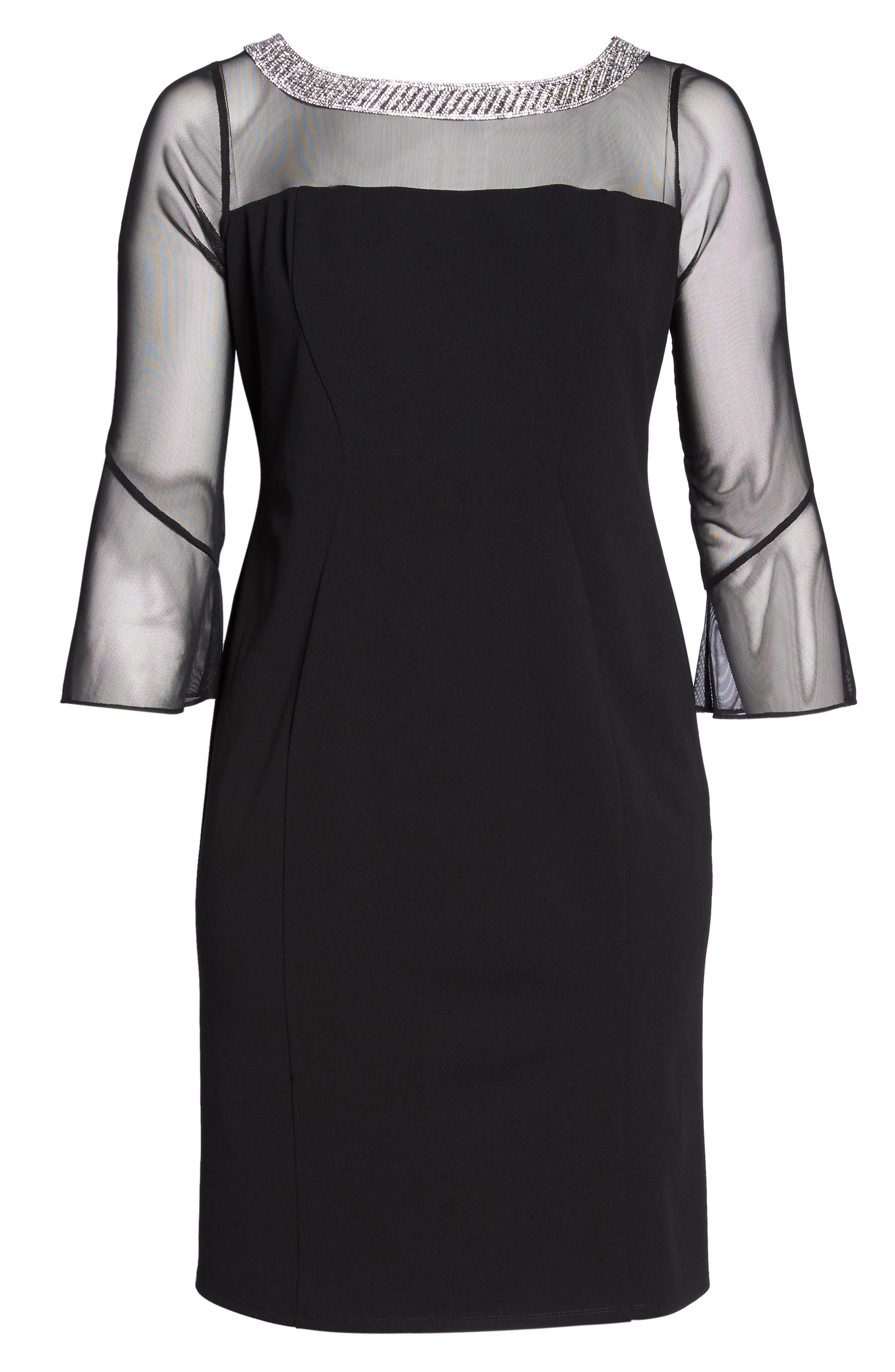 Embellished Illusion Shift Dress,                             Alternate thumbnail 6, color,                             BLACK