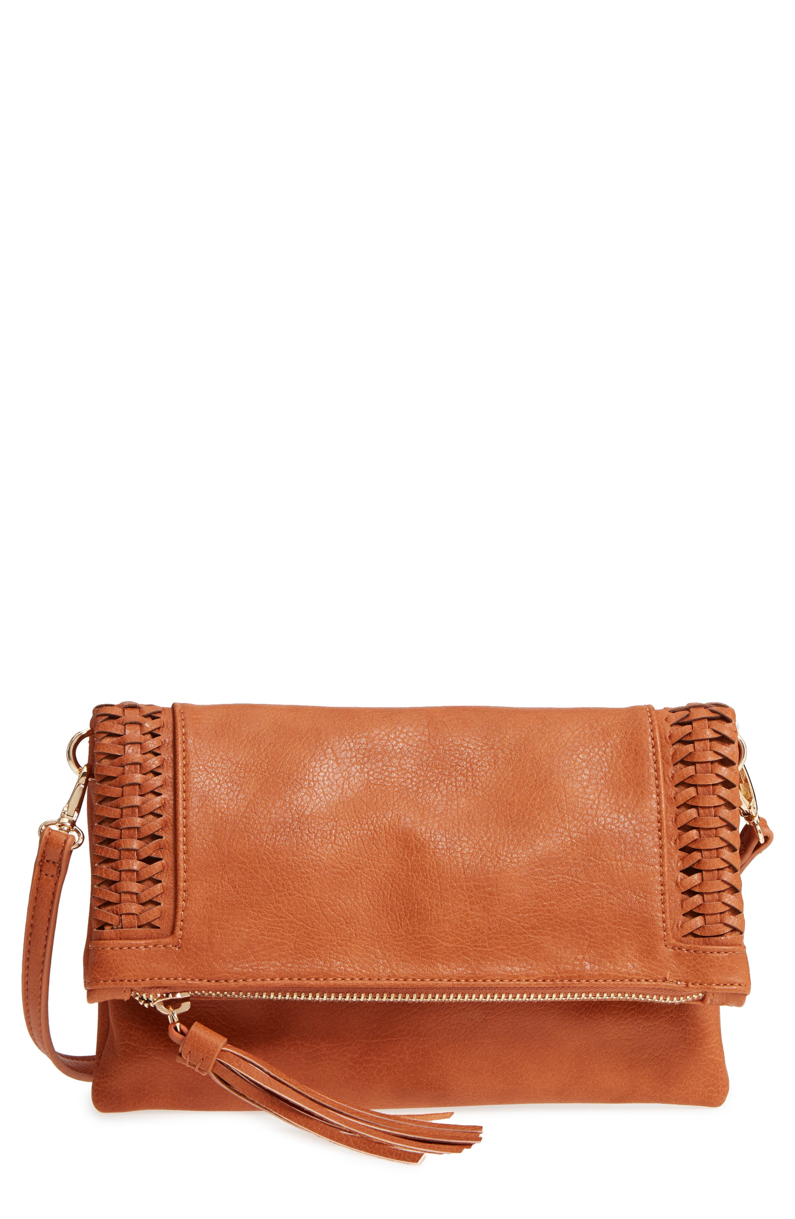Tara Whipstitched Faux Leather Clutch,                             Main thumbnail 1, color,                             230