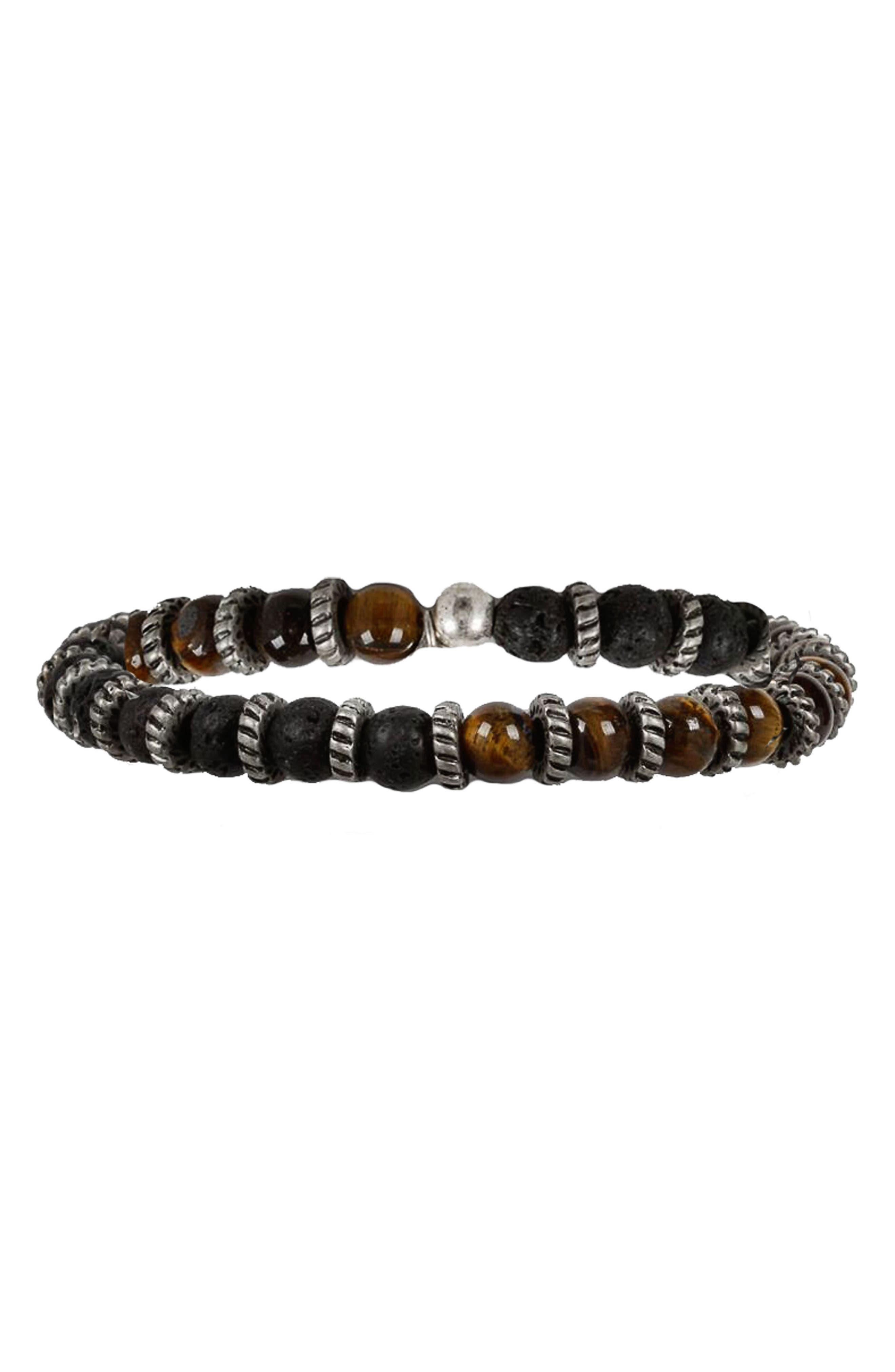Stone Bead Bracelet,                         Main,                         color, BROWN