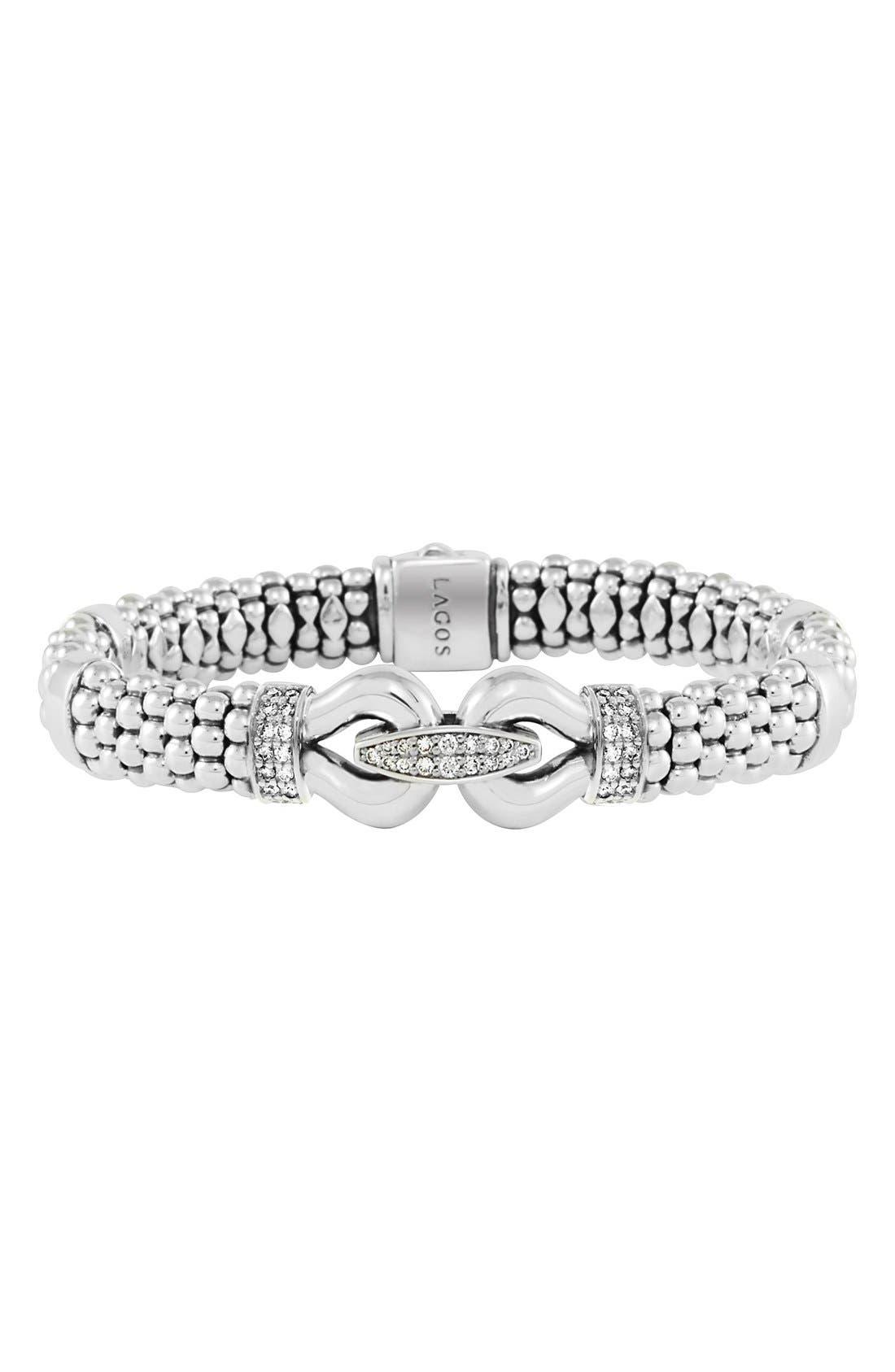'Derby' Caviar<sup>™</sup> Diamond Rope Bracelet,                             Main thumbnail 1, color,                             SILVER