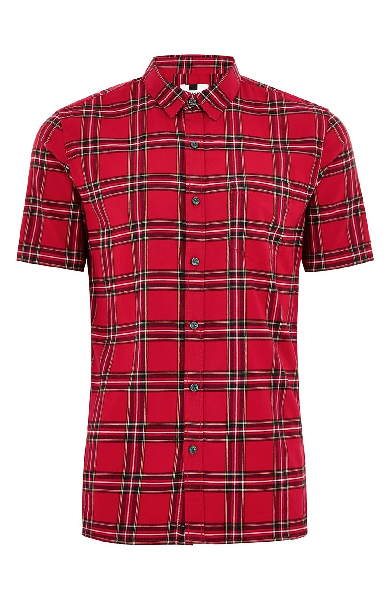 Muscle Fit Tartan Check Shirt,                             Alternate thumbnail 3, color,                             600