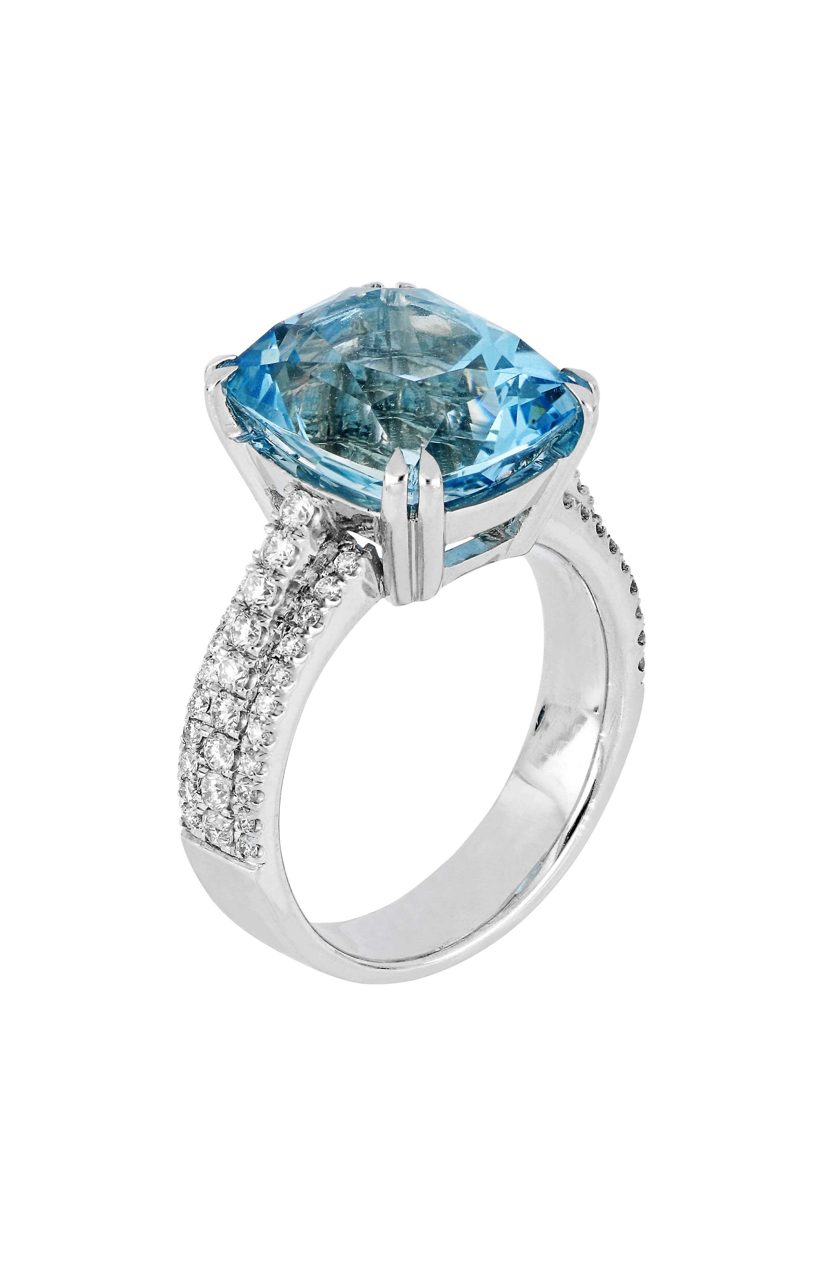 Aquamarine & Diamond Ring,                         Main,                         color, WHITE GOLD