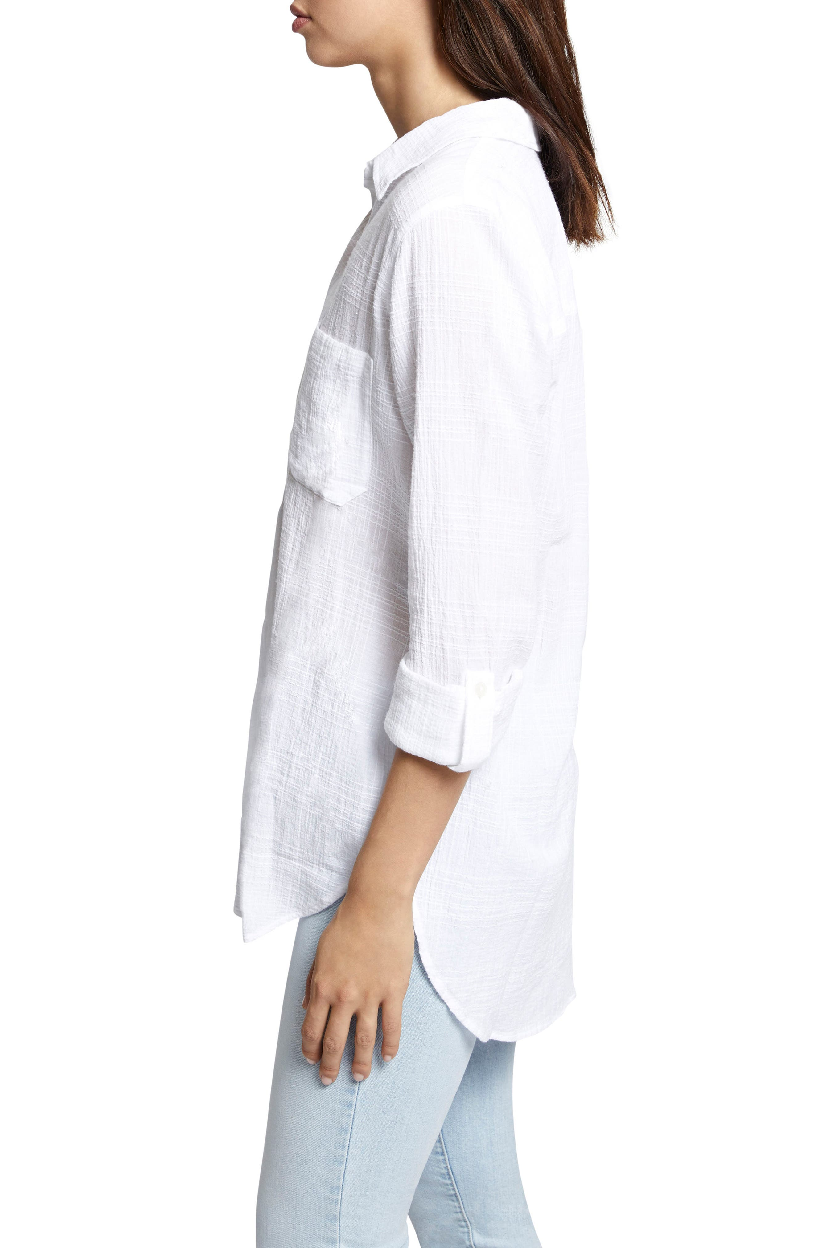 Linen Blend Gauze Tunic Top,                             Alternate thumbnail 3, color,                             114