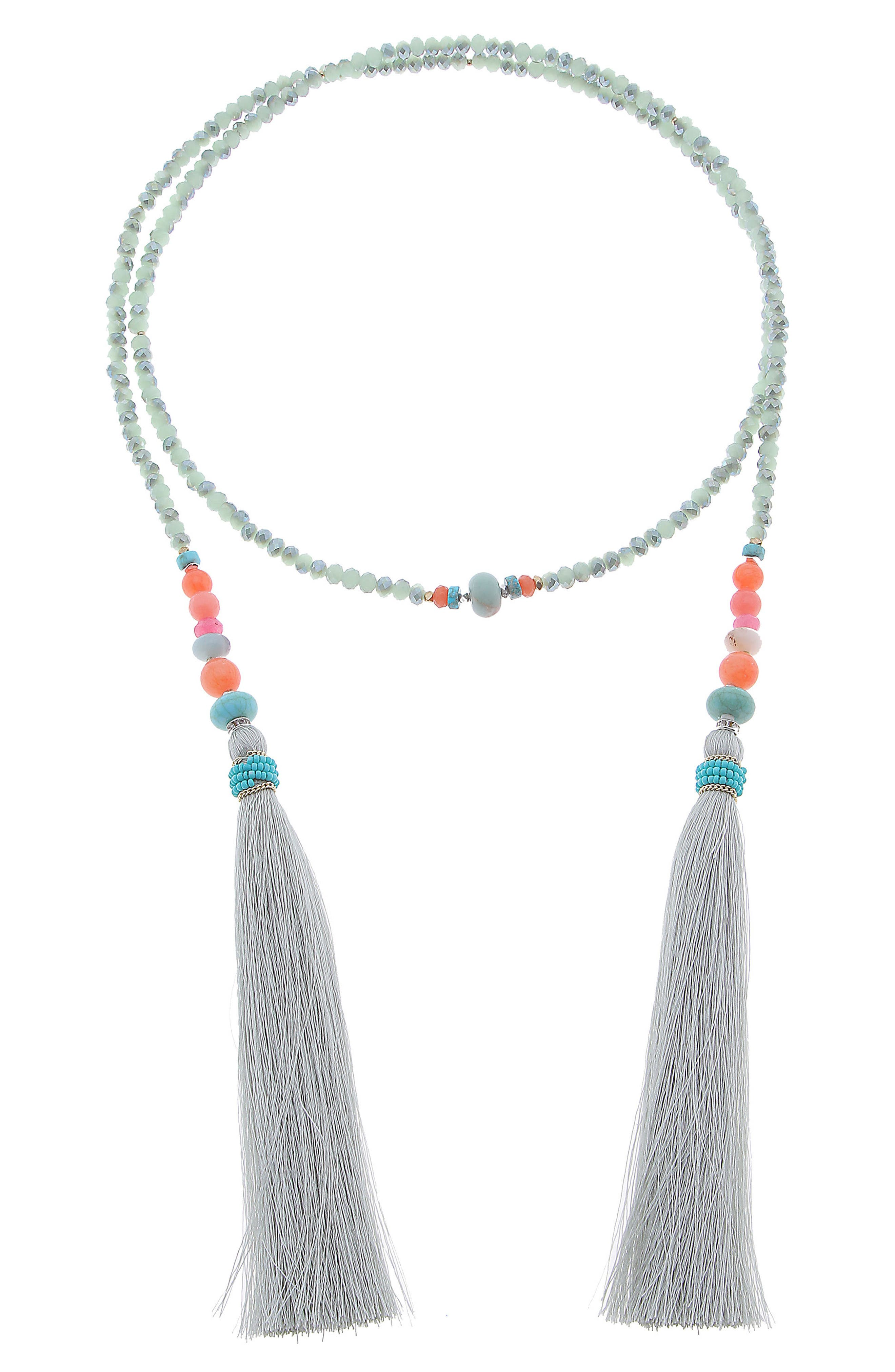 Tassel Lariat Necklace,                         Main,                         color, AQUA