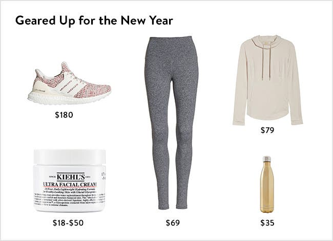Geared up for the new year: women's activewear and skin care.
