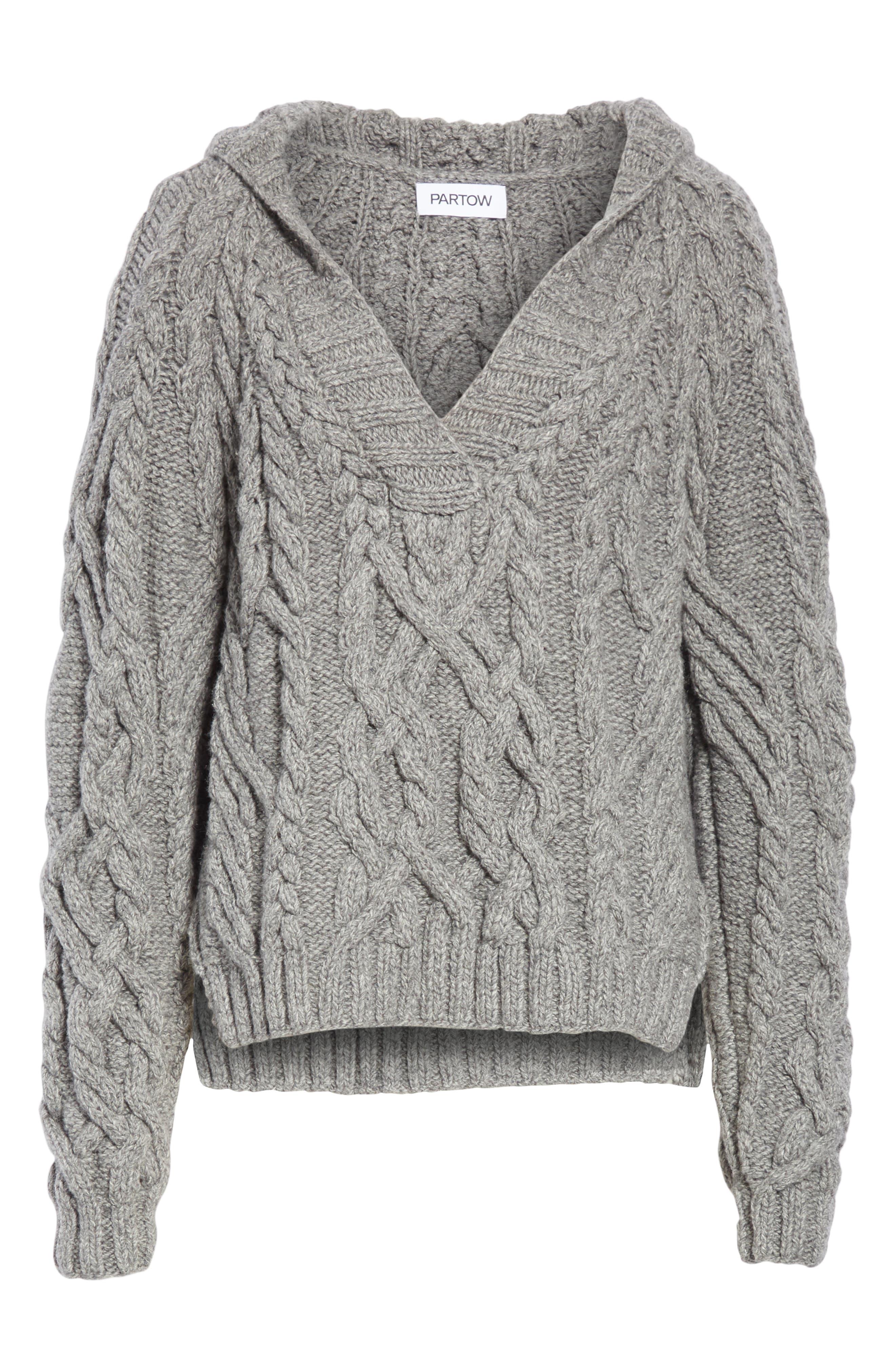 Mélange Cable Knit Hooded Sweater,                             Alternate thumbnail 6, color,                             GREY MELANGE