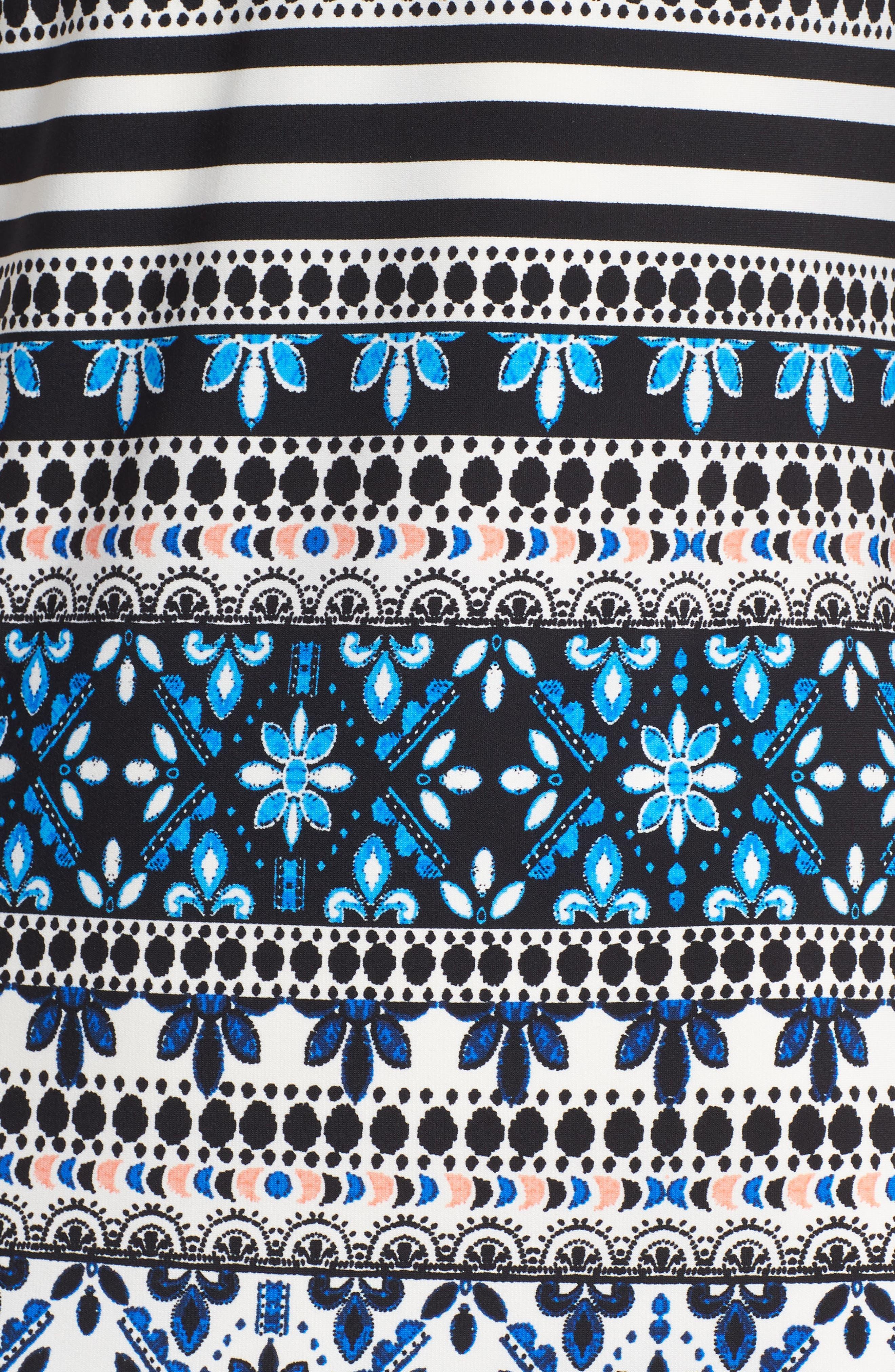 Medallion Stripe Shift Dress,                             Alternate thumbnail 6, color,                             400