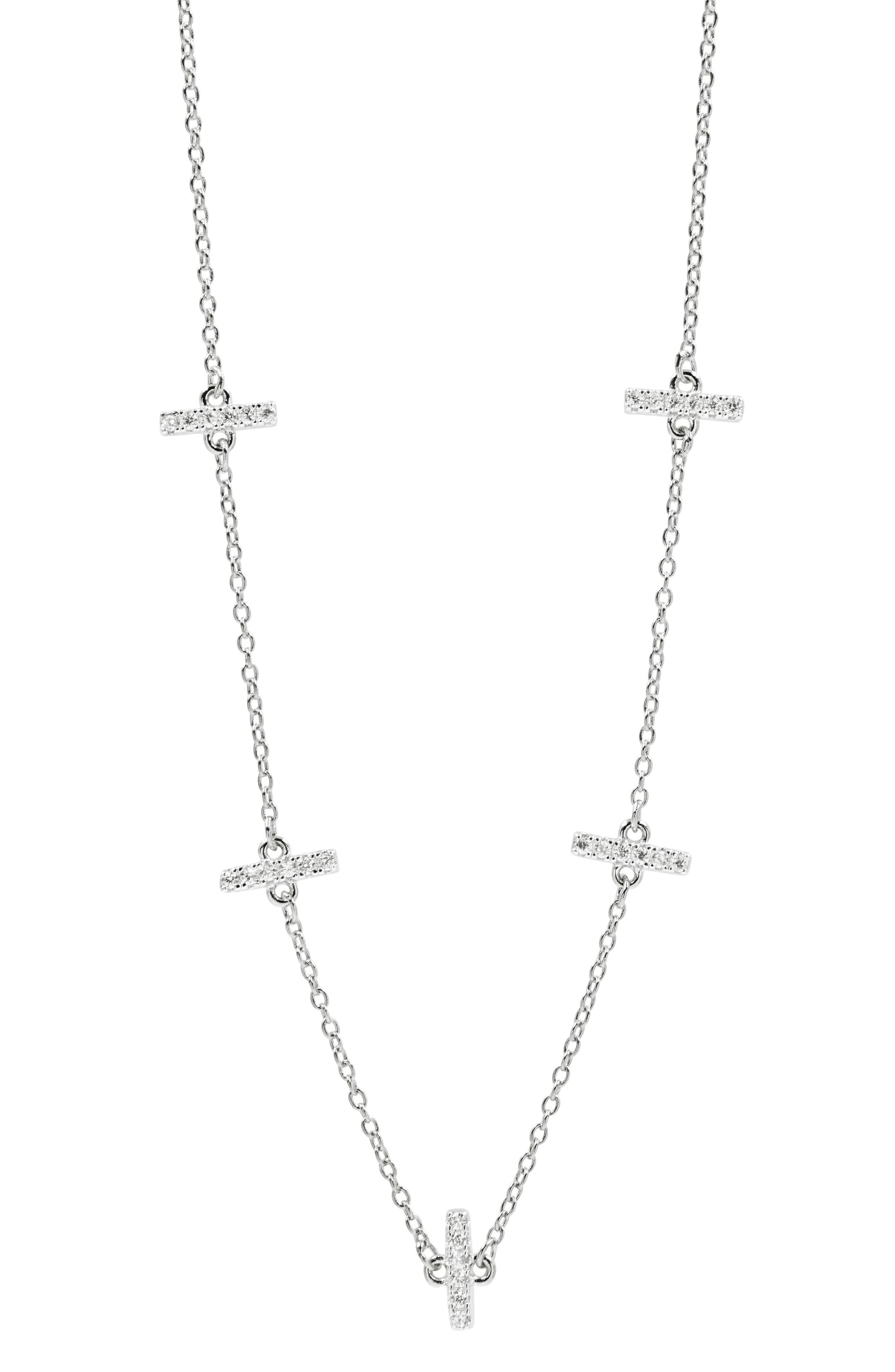 Radiance Crystal Station Necklace,                         Main,                         color, SILVER