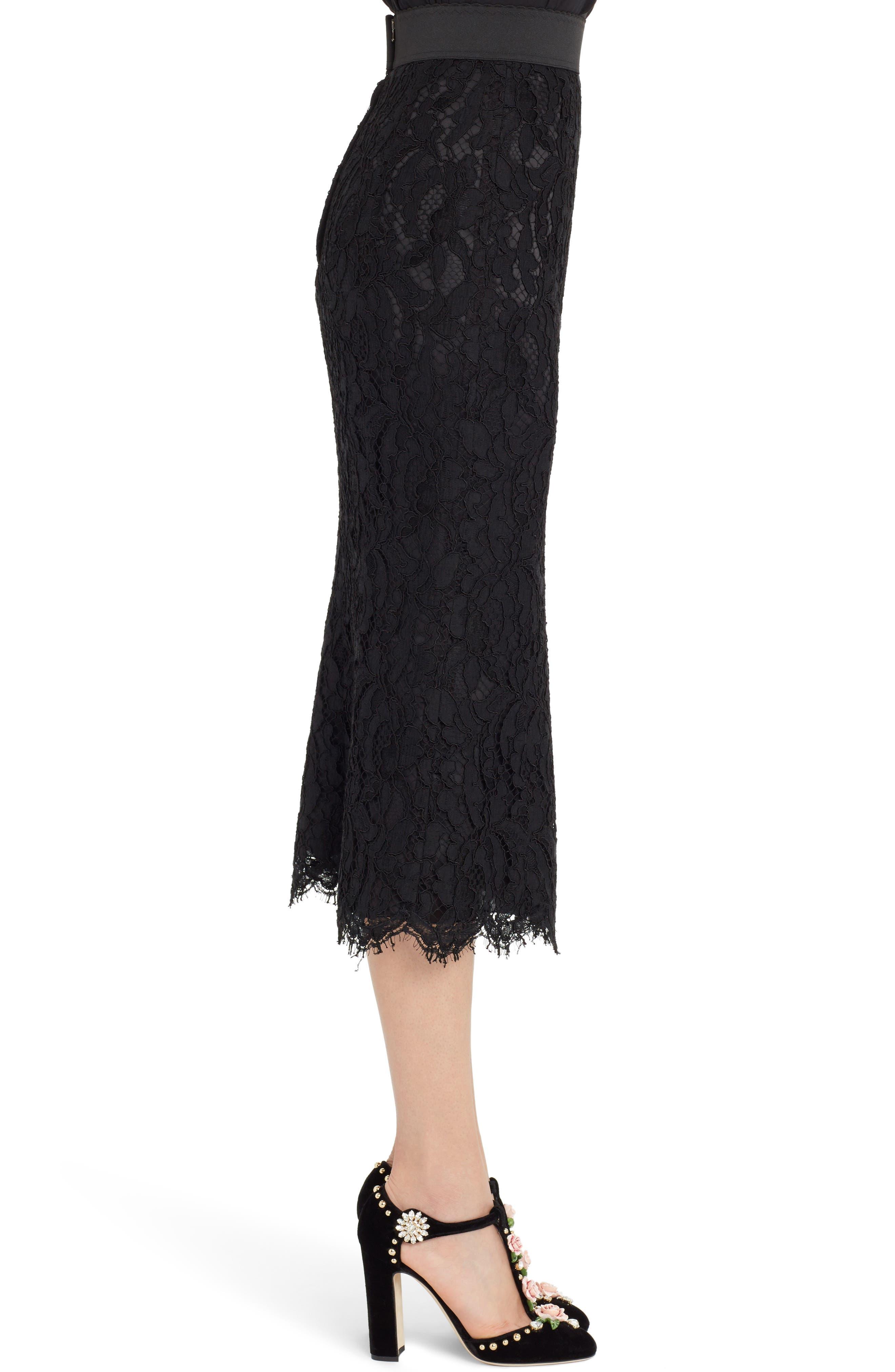 Lace Midi Skirt,                             Alternate thumbnail 3, color,                             BLACK