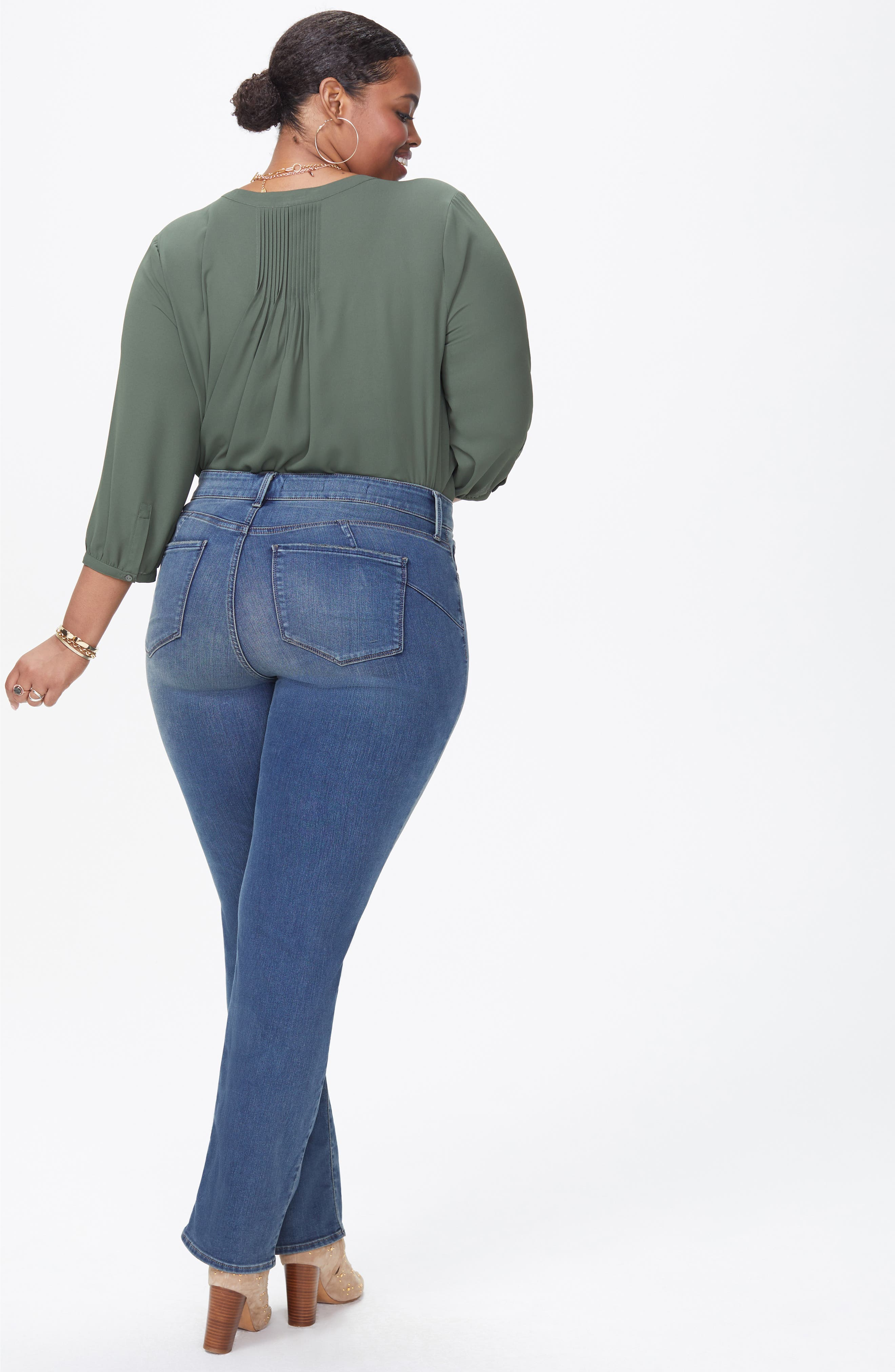Marilyn Uplift Straight Leg Jeans,                             Alternate thumbnail 4, color,                             FERRIS
