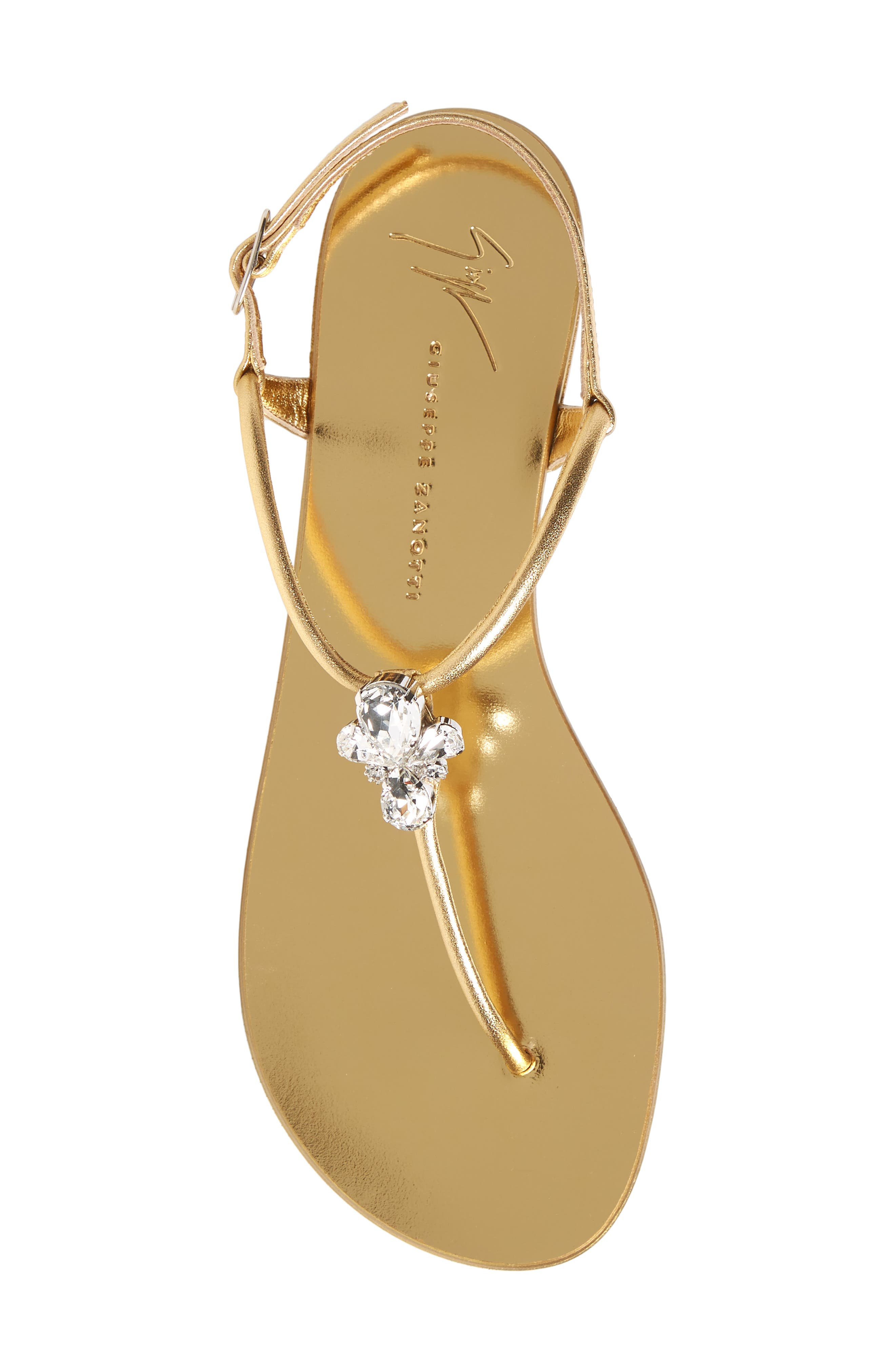 Crystal T-Strap Sandal,                             Alternate thumbnail 5, color,                             GOLD