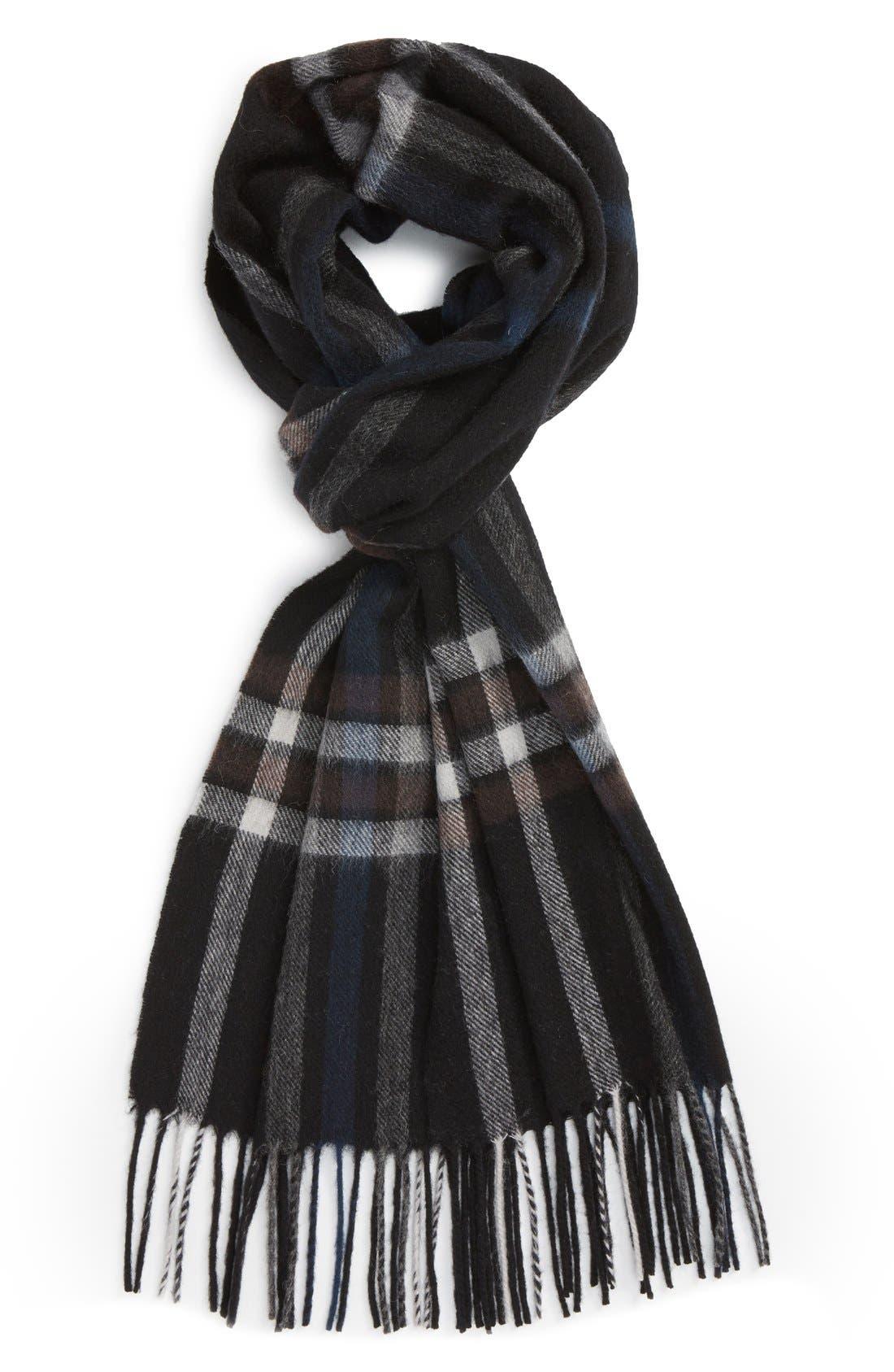 Clean Plaid Wool Scarf,                         Main,                         color, 001