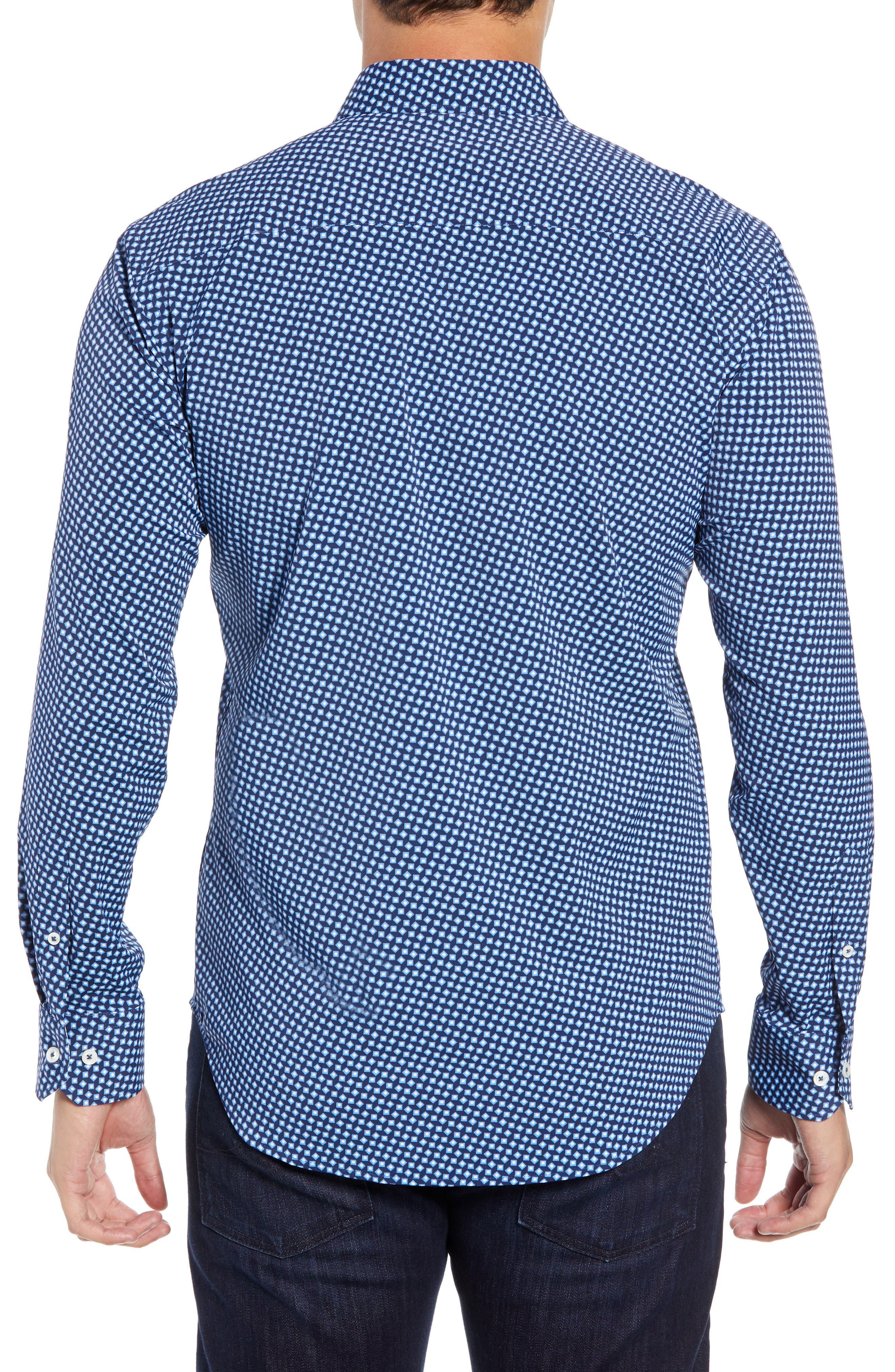 Shaped Fit Geometric Performance Sport Shirt,                             Alternate thumbnail 3, color,                             NAVY